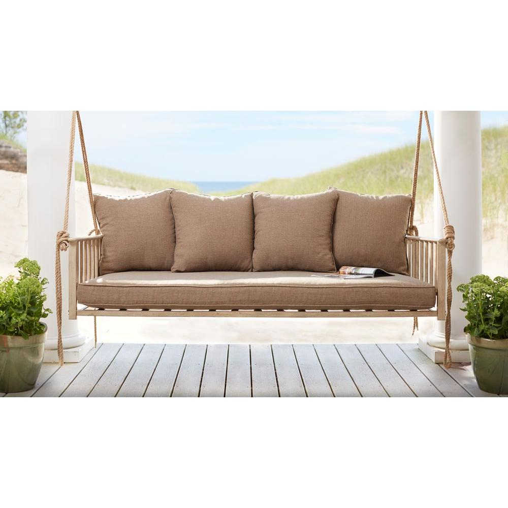 Patio Hanging Porch Swings Regarding 2019 Hampton Bay Cane Patio Outdoor Patio Swing With Square Back Cushions (Gallery 6 of 25)