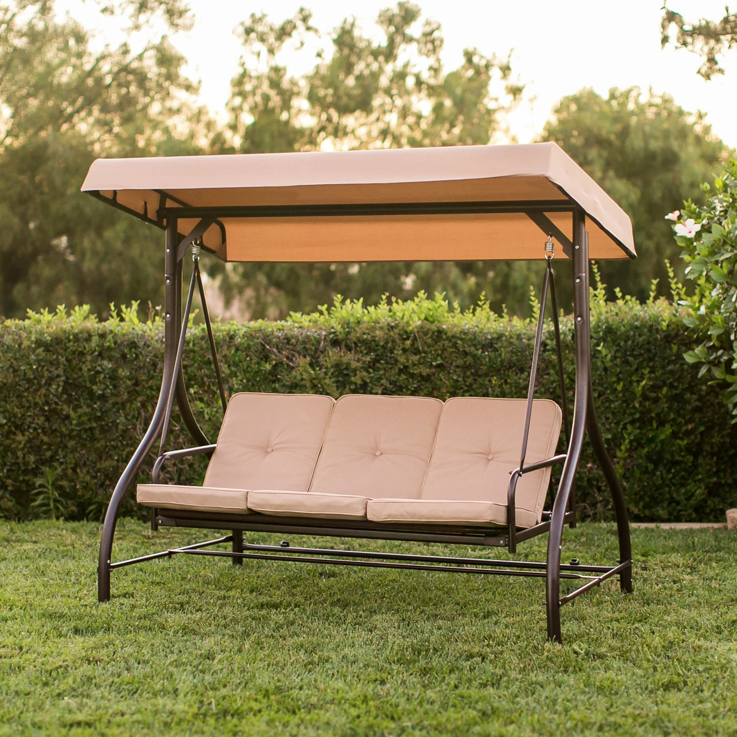 Patio Seating Porch Swings Brown 3 Persons Outdoor Cushion Regarding 2019 Patio Glider Hammock Porch Swings (Gallery 20 of 25)
