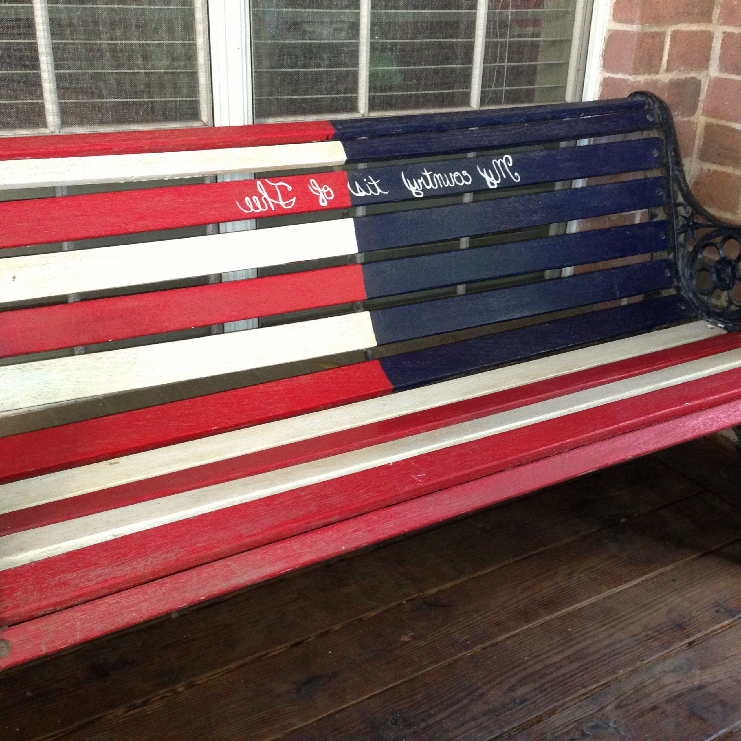 "Patriotic Rustic American Flag Wood Bench! ""my Country 'tis Throughout Popular American Flag Porch Swings (Gallery 9 of 25)"
