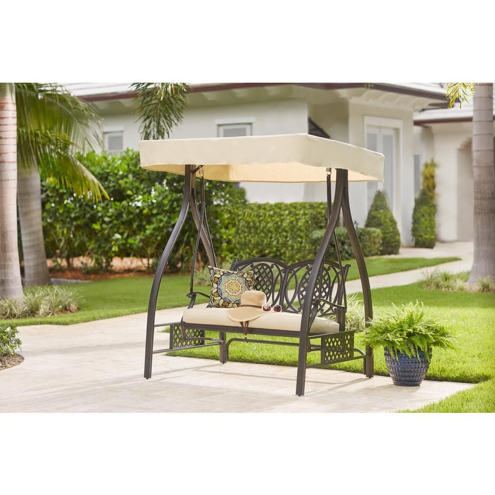 Pergola Porch Swings With Stand With Famous Hampton Bay Belcourt Metal Outdoor Swing With Stand And (Gallery 15 of 25)