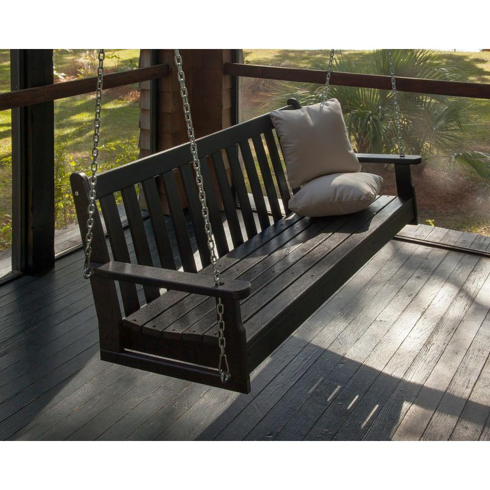 Polywood Vineyard 60 In. Black Plastic Outdoor Porch Swing Regarding Popular Outdoor Porch Swings (Gallery 2 of 25)