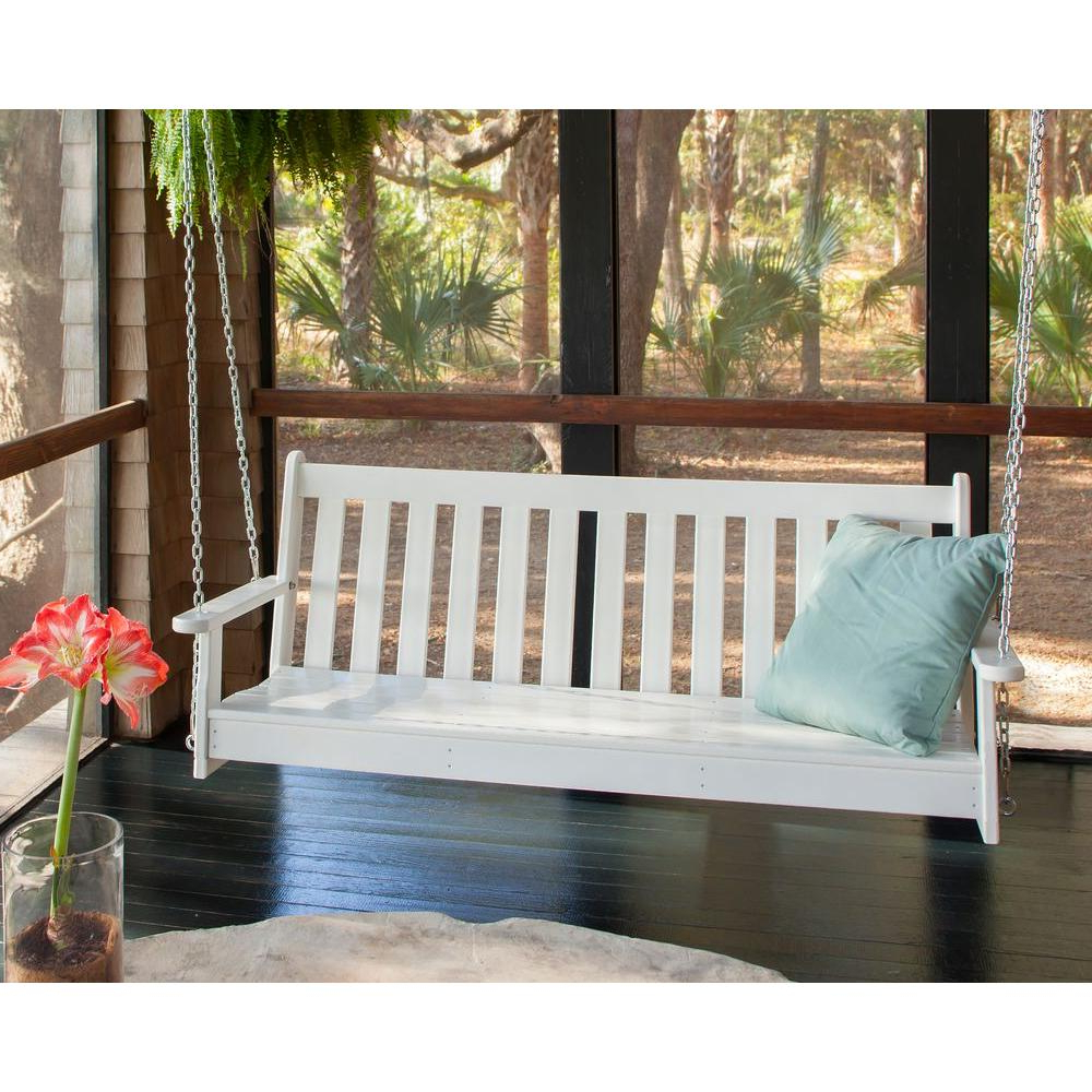 Polywood Vineyard 60 In. White Plastic Outdoor Porch Swing In 2020 Vineyard Porch Swings (Gallery 3 of 25)