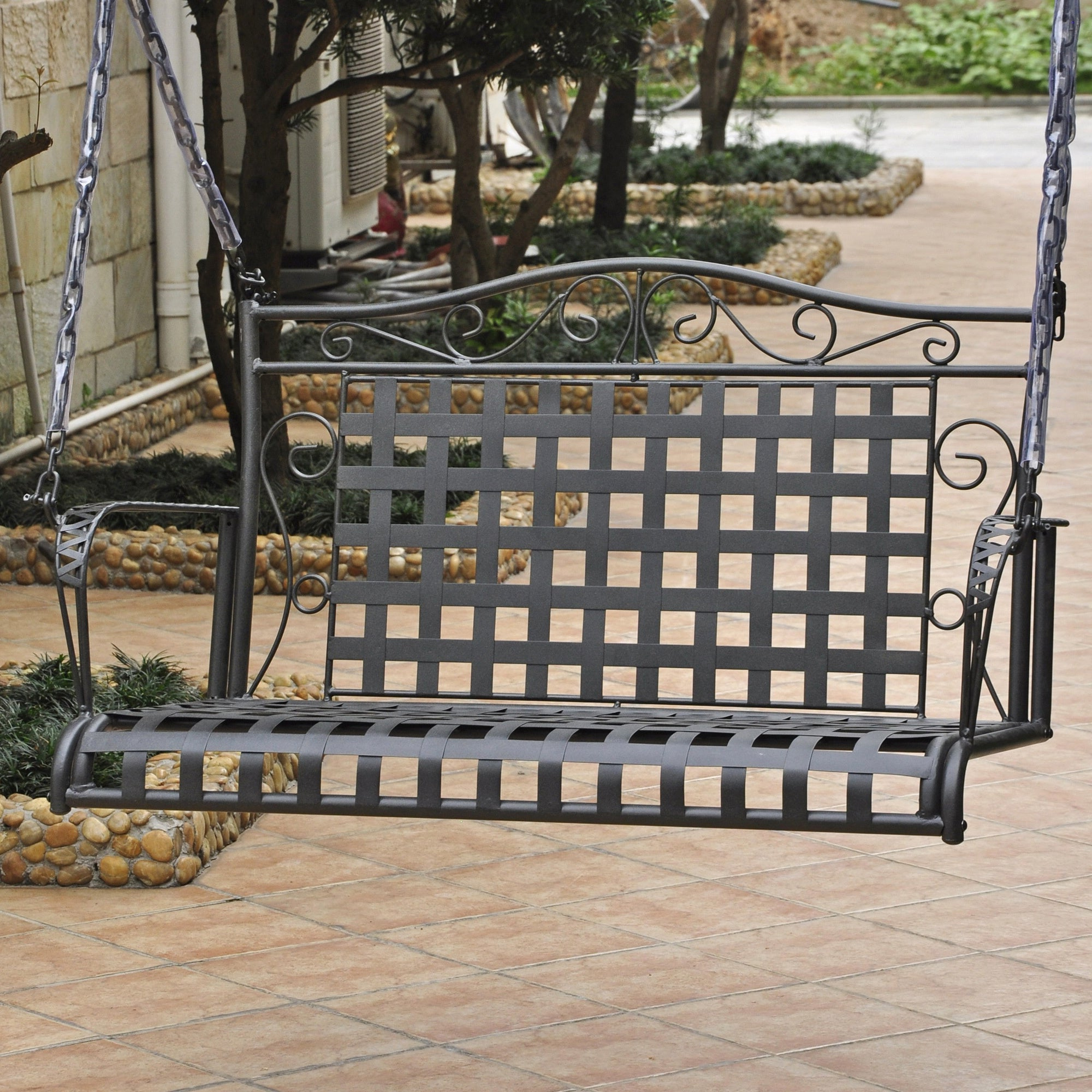 Popular 2 Person Hammered Bronze Iron Outdoor Swings Within International Caravan Mandalay Iron Patio Swing (View 5 of 25)