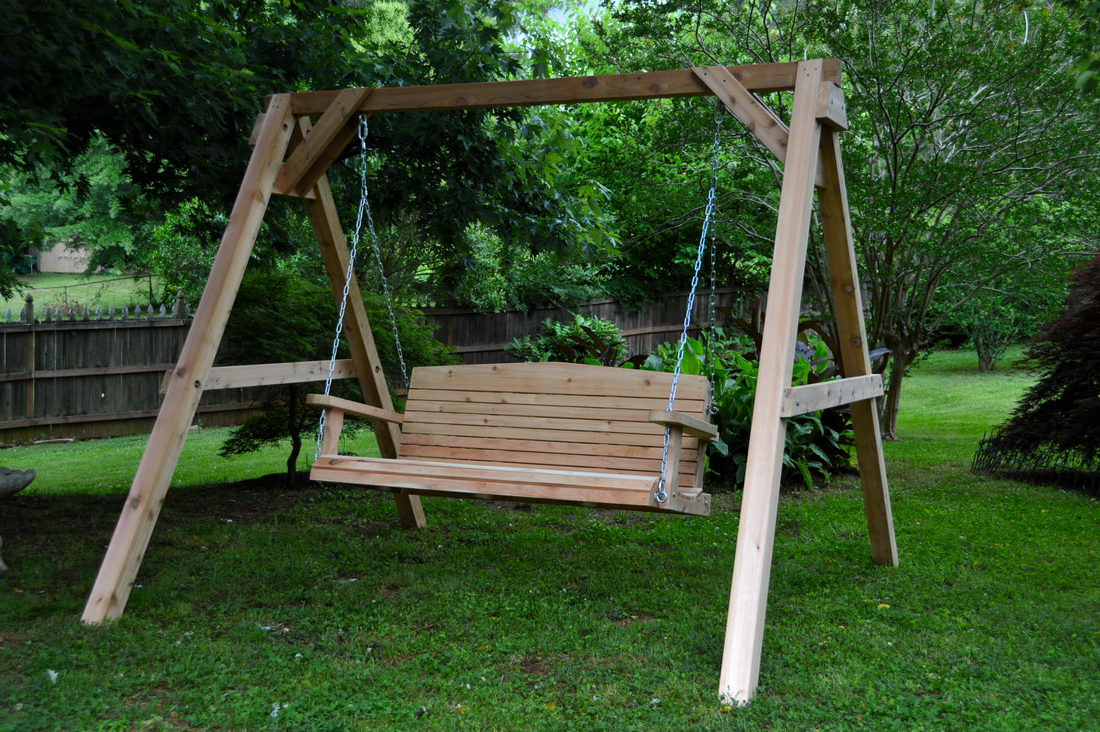 Popular 3 Person Natural Cedar Wood Outdoor Swings Inside Atlanta Wooden Swings – Blog (View 23 of 25)