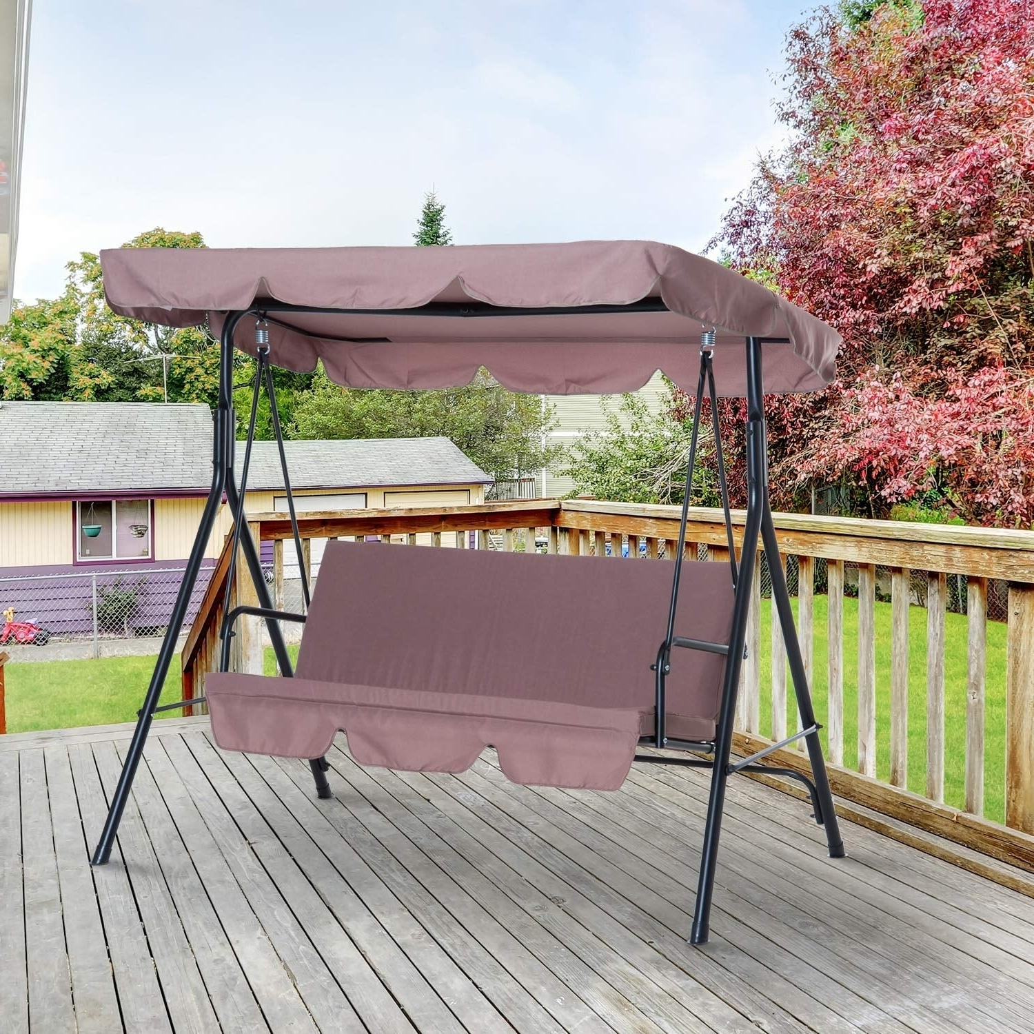 Popular 3 Person Outdoor Porch Swings With Stand Inside Outsunny 3 Person Steel Fabric Outdoor Porch Swing Canopy With Stand – Brown (View 14 of 25)