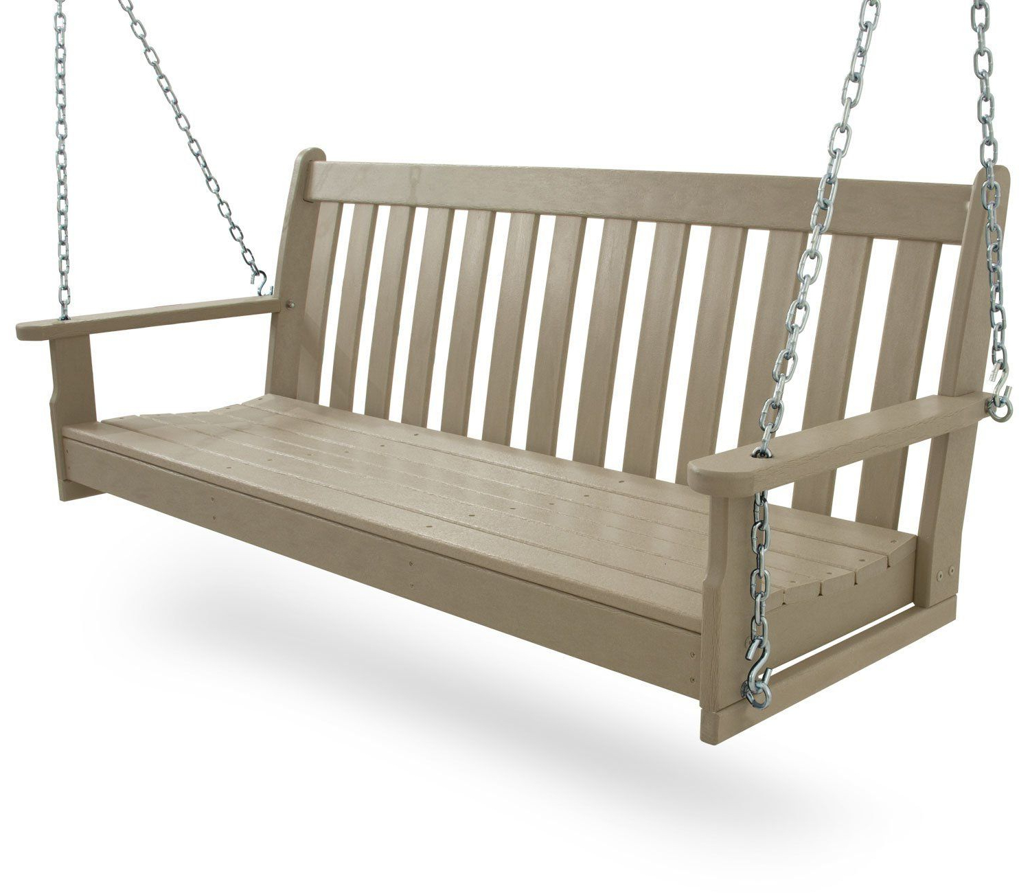 """Popular Amazon : Polywood Gns60Wh Vineyard 60"""" Swing, White With Regard To Vineyard Porch Swings (View 8 of 25)"""