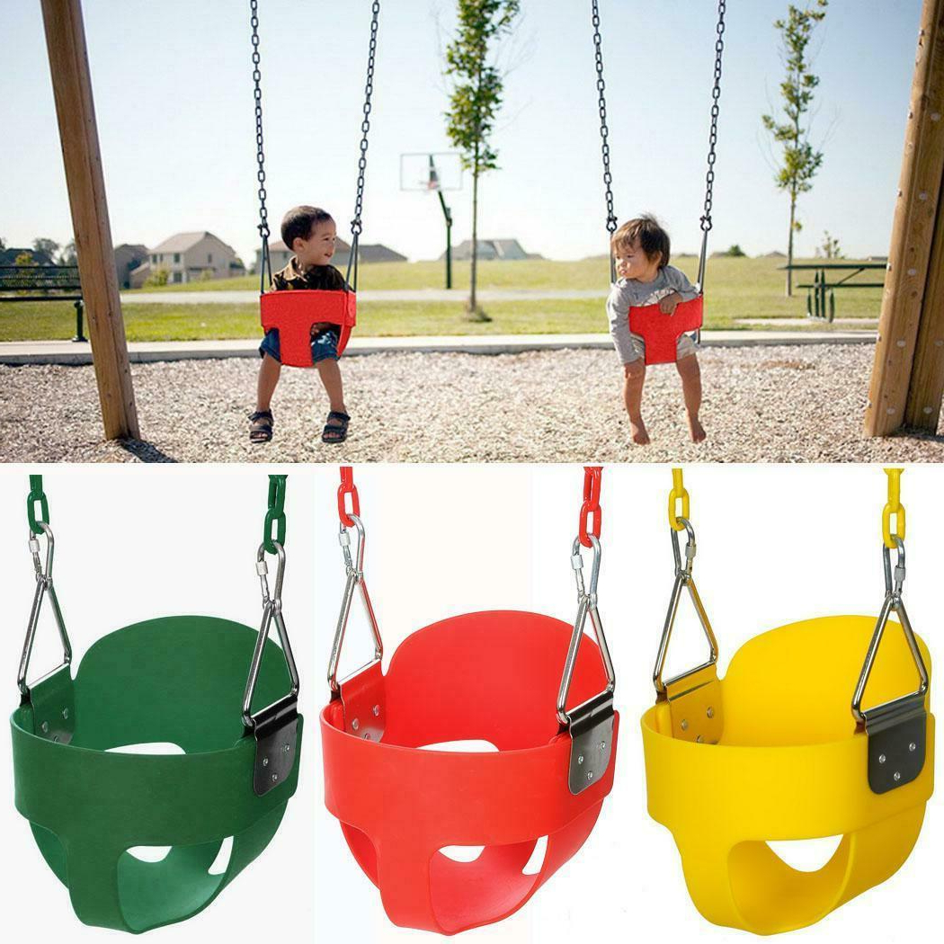 Popular Baby Full Bucket Swing With Chain Kids Hanging Swing Seat Toddler Set  Outdoor Us Inside 3 Person Red With Brown Powder Coated Frame Steel Outdoor Swings (Gallery 2 of 25)