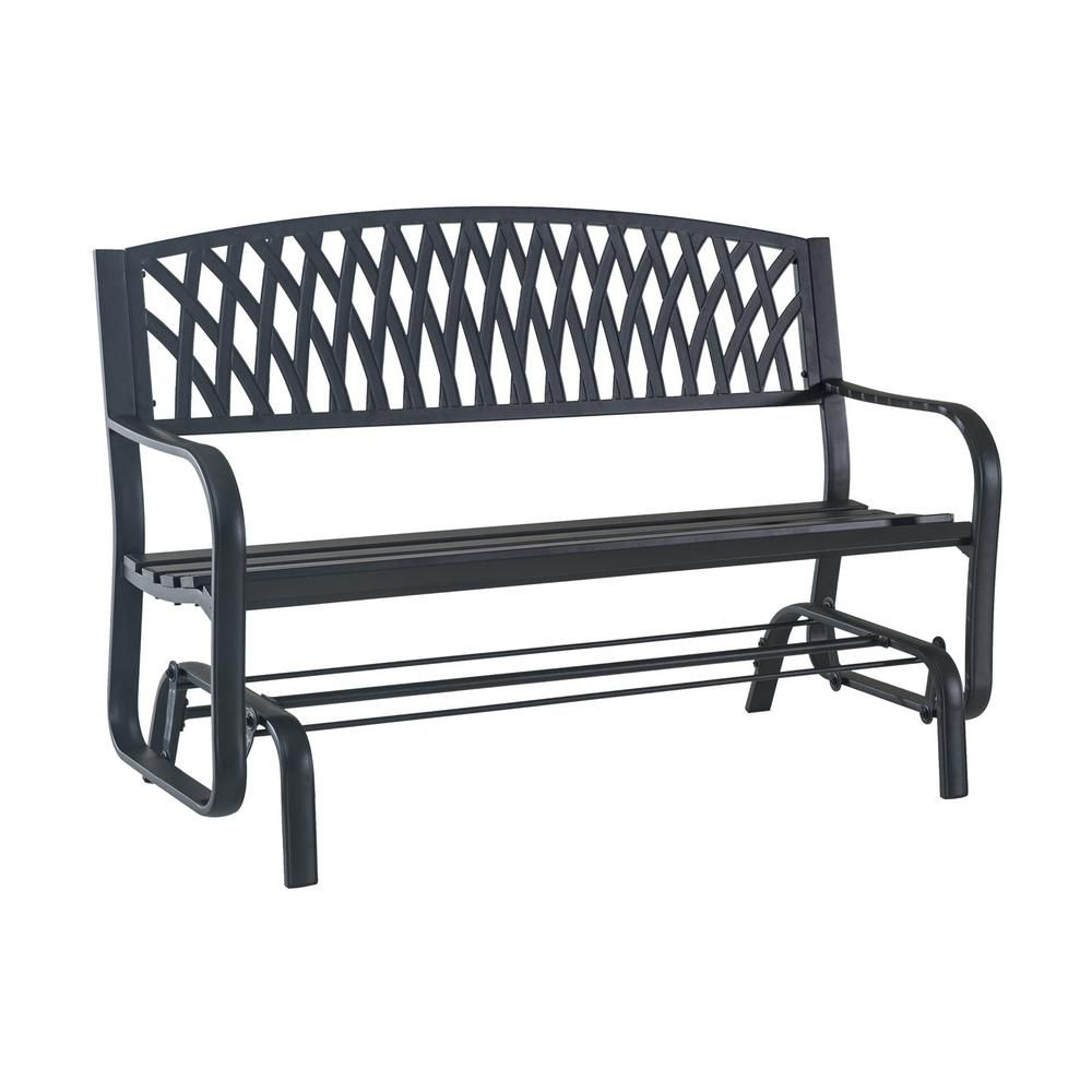 Popular Hampton Bay Flintridge Black Outdoor Glider In 2019 In 2 Person Antique Black Iron Outdoor Gliders (View 14 of 25)