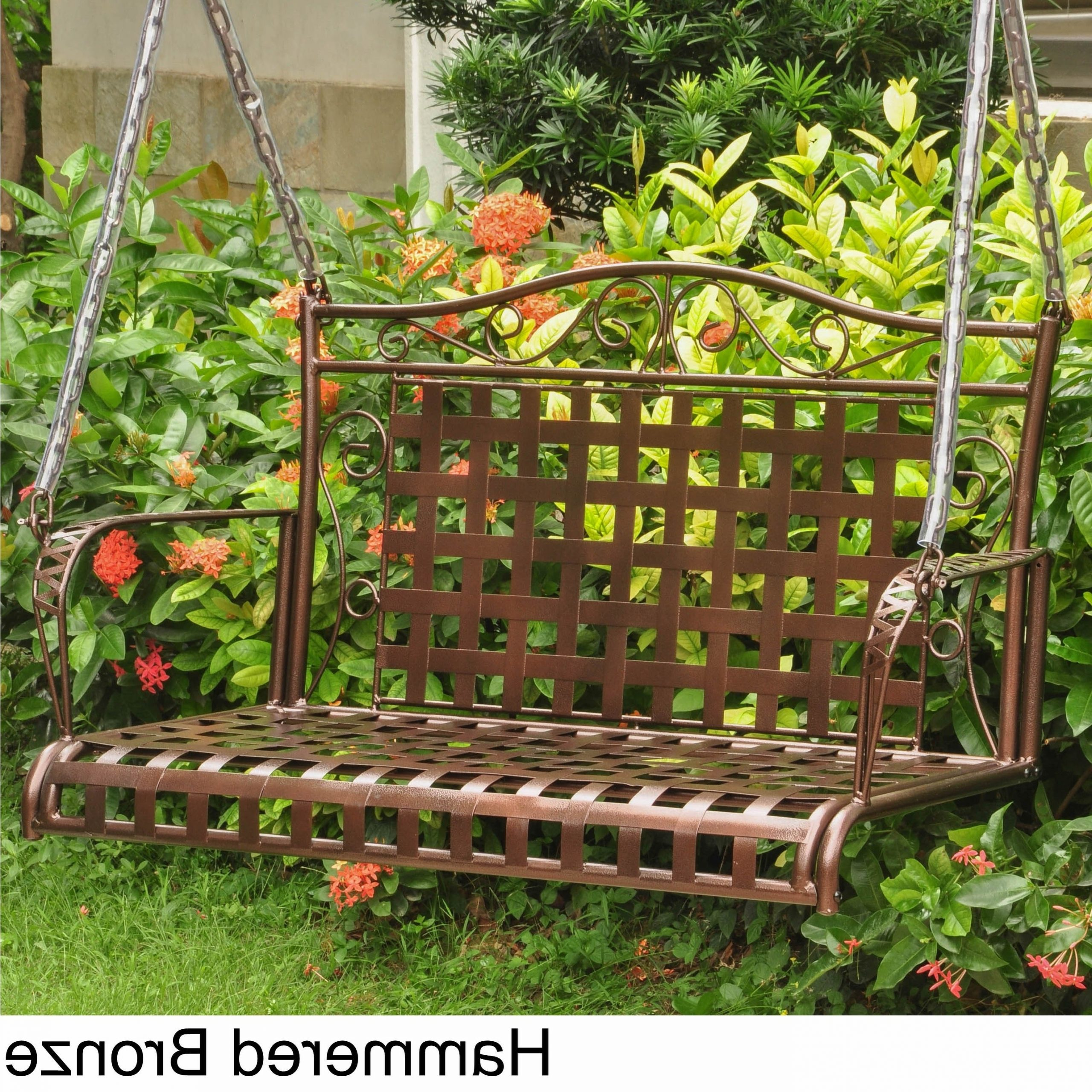Popular International Caravan Mandalay Iron Patio Swing Within 2 Person Hammered Bronze Iron Outdoor Swings (View 6 of 25)