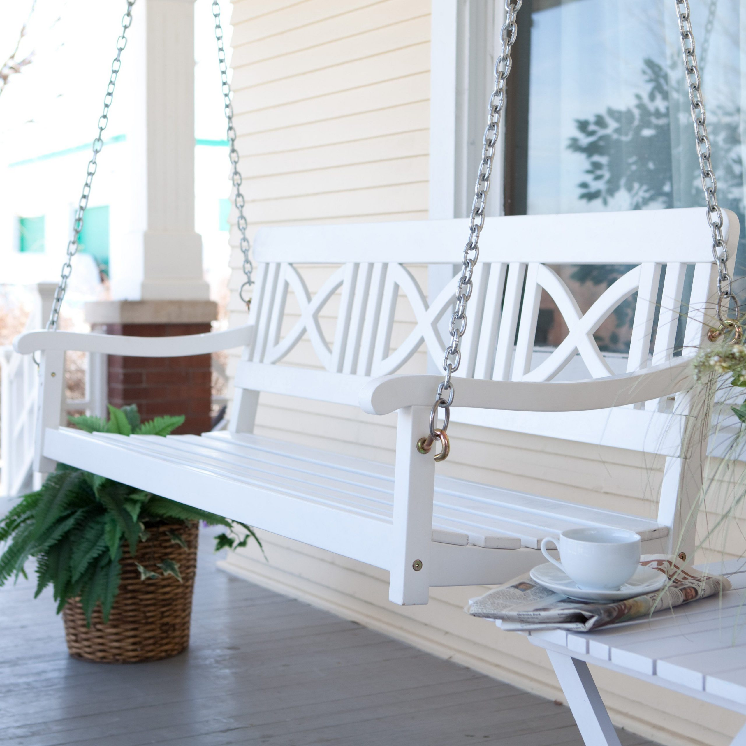 Popular Matera Crossback Painted Wood Porch Swing – White $ (View 18 of 25)