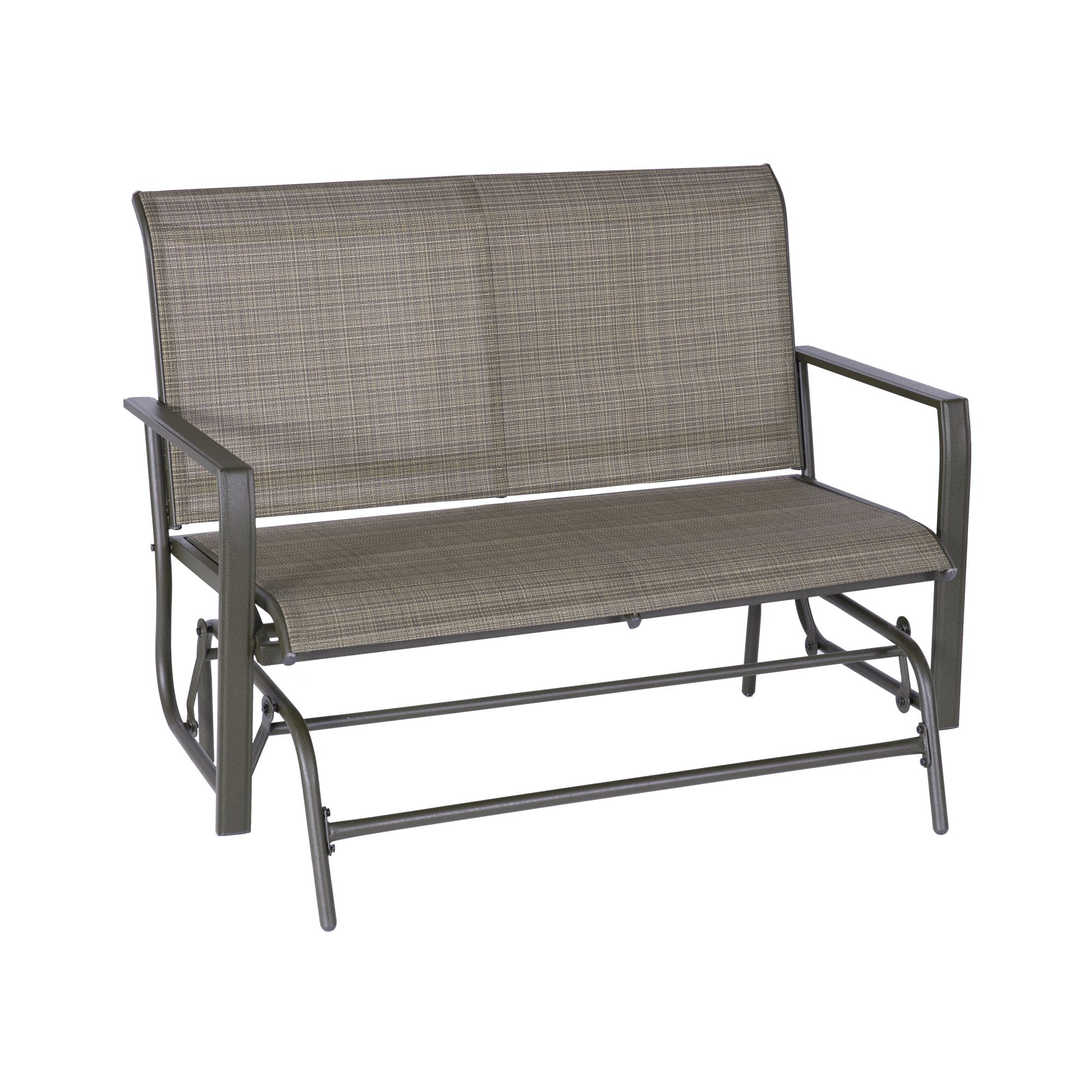 Popular Outdoor Patio Swing Glider Bench Chairs Within Patio Glider Bench Loveseat Outdoor Cushioed 2 Person (View 15 of 25)