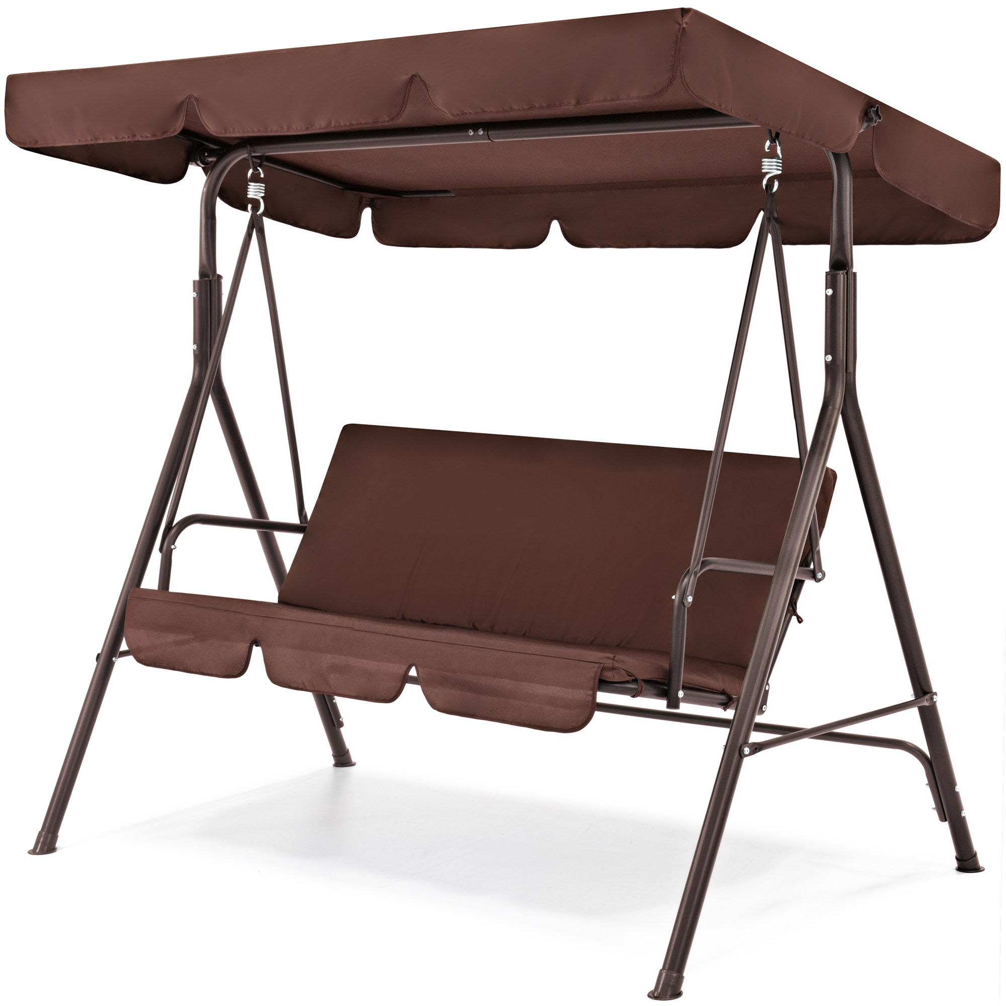 Popular Outdoor Swing Glider Chairs With Powder Coated Steel Frame For Best Choice Products 2 Person Outdoor Large Convertible Canopy Swing Glider Lounge Chair W/ Removable Cushions Brown (View 22 of 25)