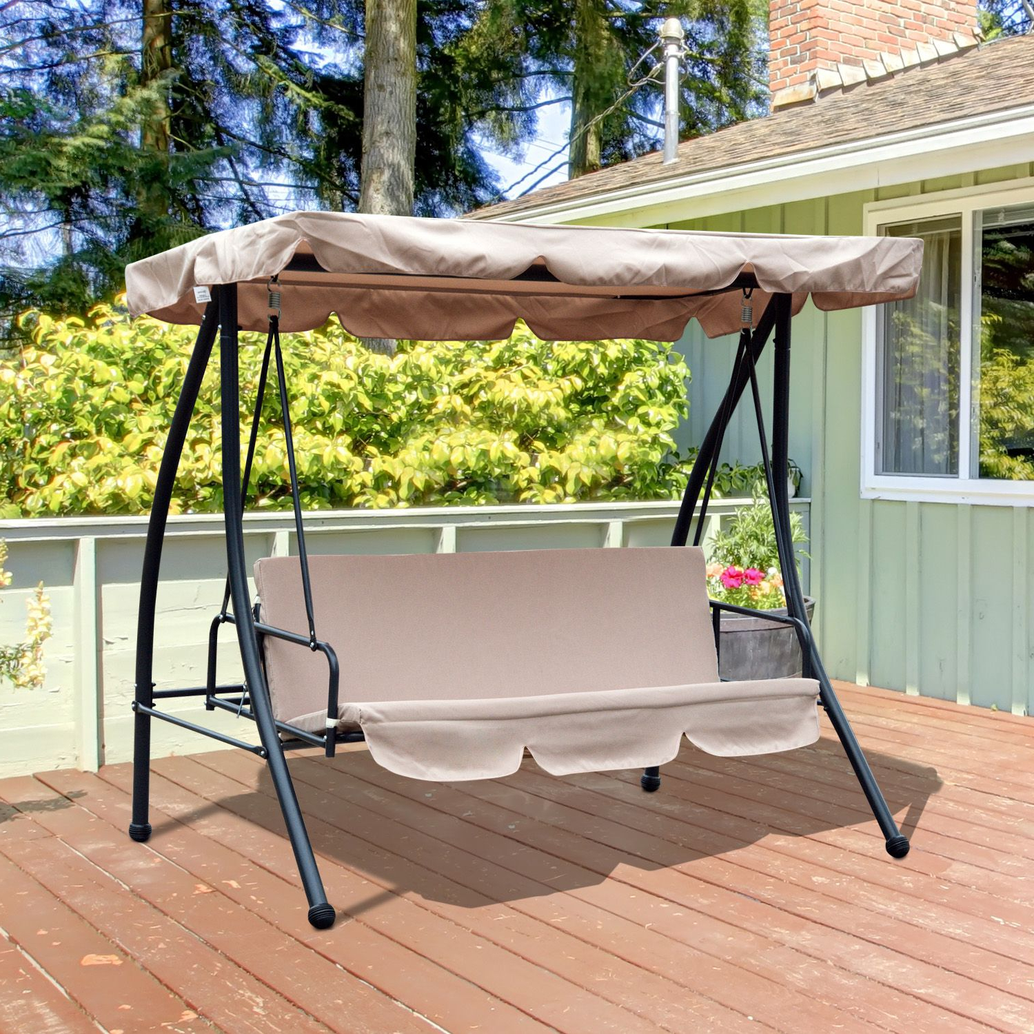 Popular Outsunny Convertible Patio Swing Chair 3 Person Hammock Cushioned Portable Outdoor With Tilt Canopy Beige Pertaining To 2 Person Outdoor Convertible Canopy Swing Gliders With Removable Cushions Beige (View 16 of 25)