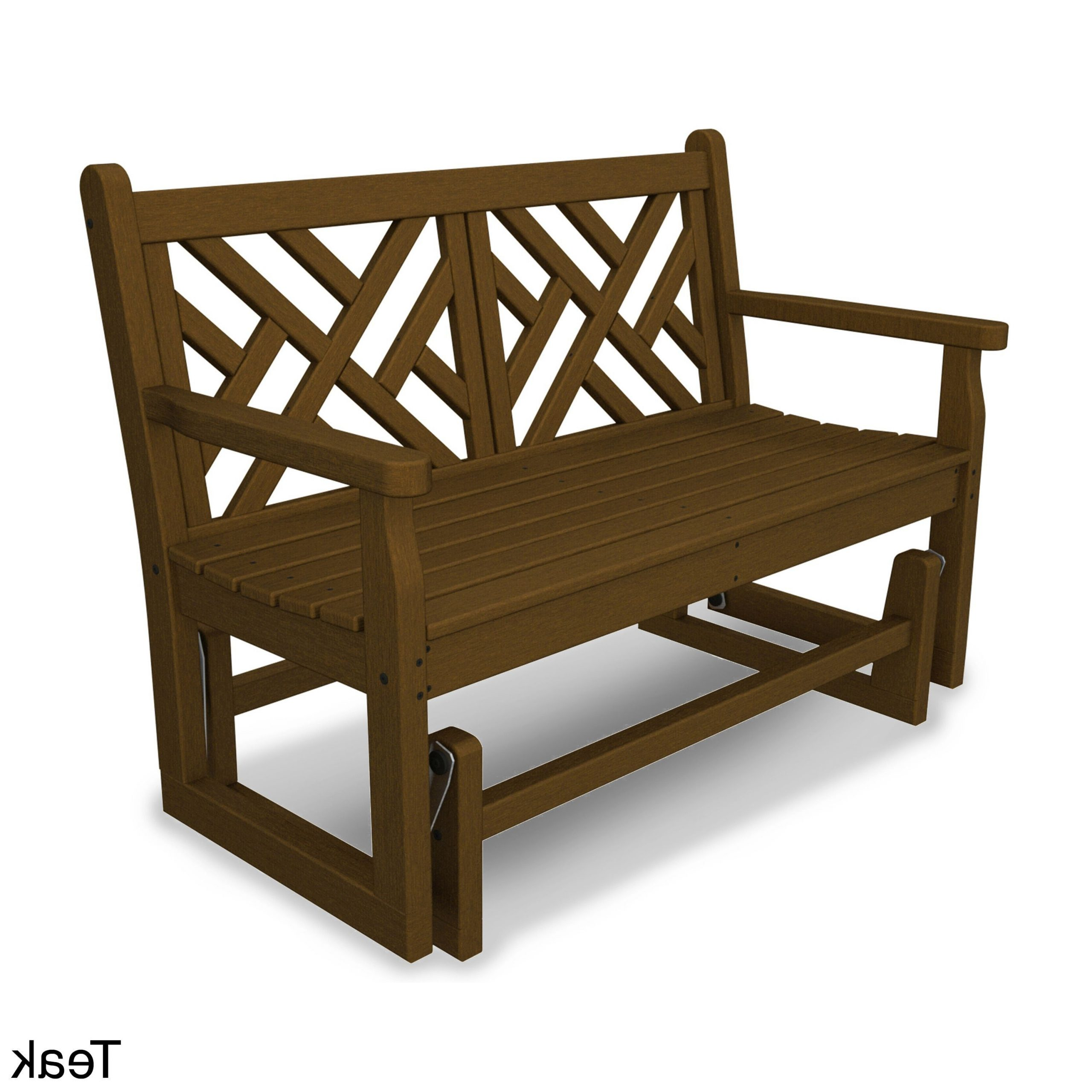 Popular Teak Outdoor Glider Benches Intended For Chippendale Polywood Glider Bench (teak), Brown, Patio (View 7 of 25)