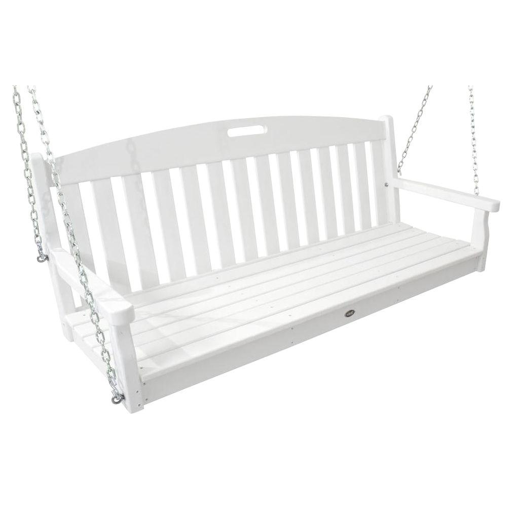 Popular Trex Outdoor Furniture Yacht Club Classic White Patio Swing Pertaining To Contoured Classic Porch Swings (Gallery 20 of 25)