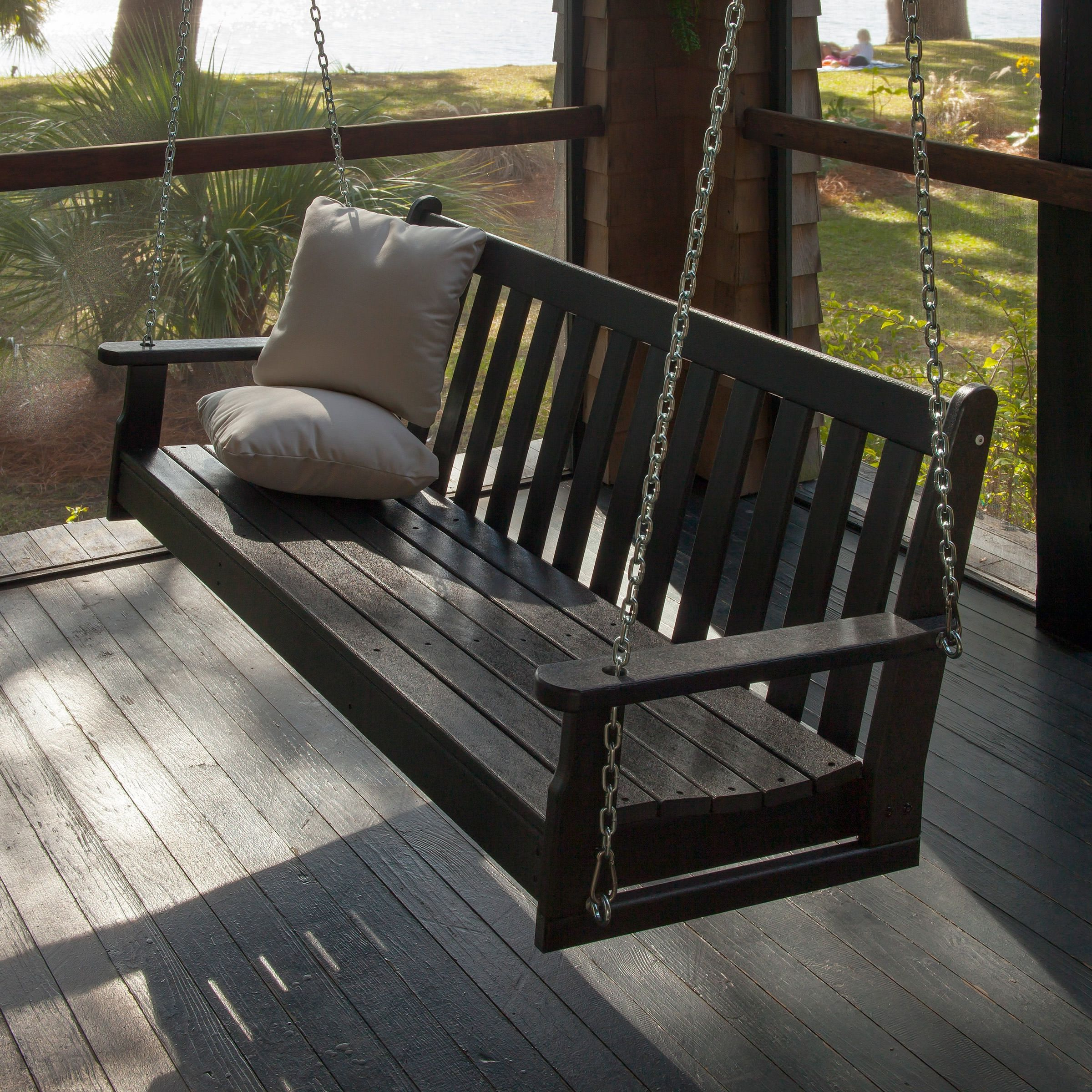 Popular Vineyard Porch Swings Intended For Polywood Vineyard 60 In Swing With Chain Kit In (View 11 of 25)
