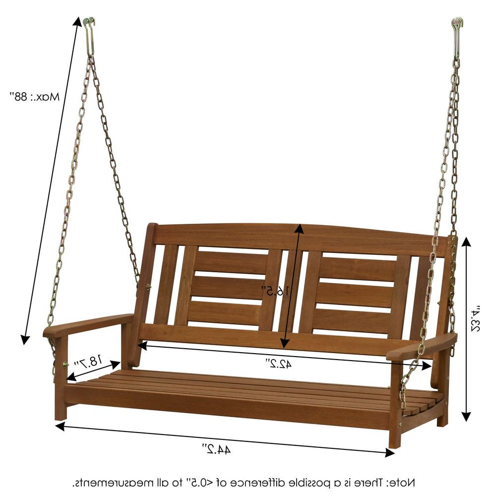 Porch Swings With Chain In Latest Hardwood Hanging Porch Swing With Chain Rustic Vintage (Gallery 3 of 26)