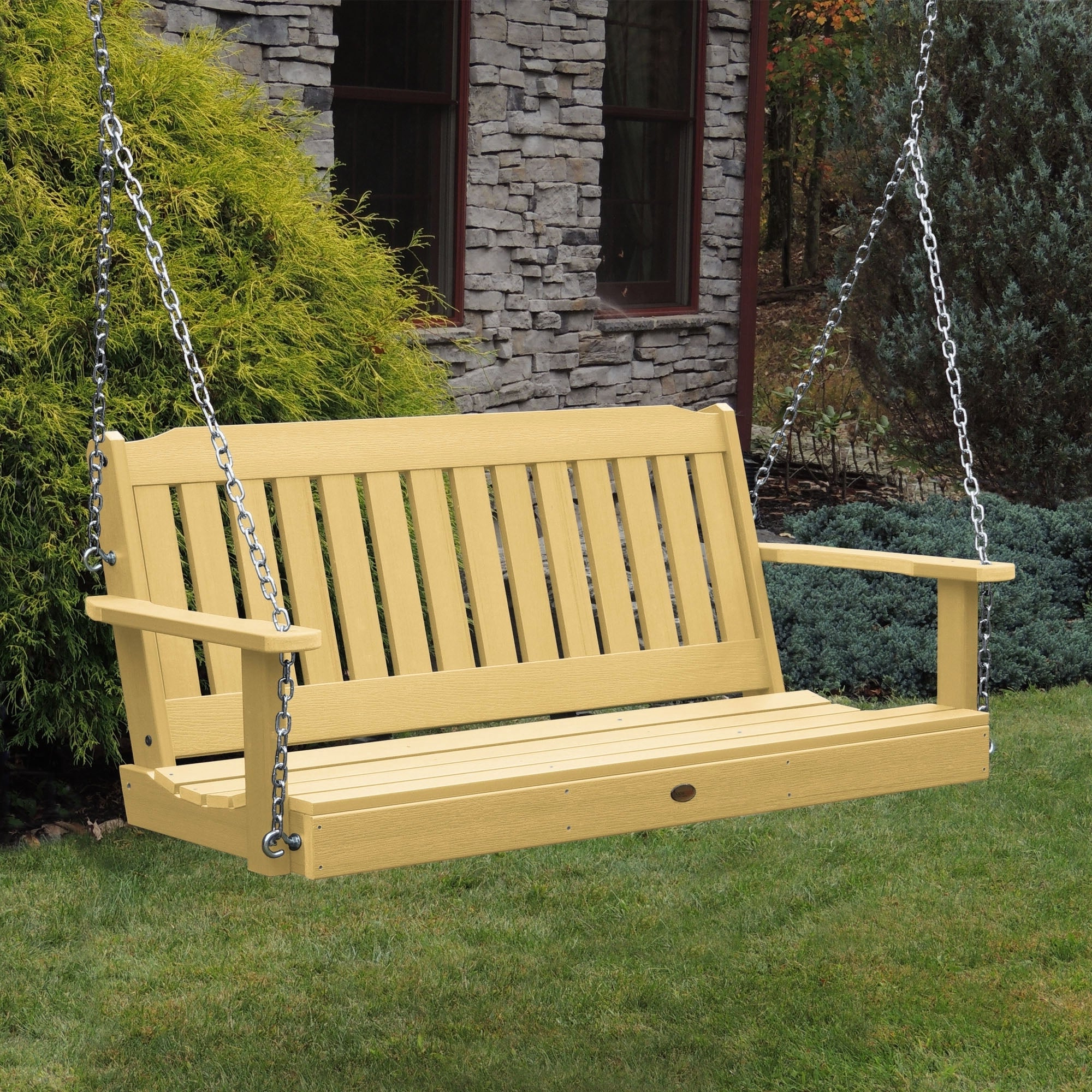 Porch Swings With Newest Highwood Lehigh 5 Foot Eco Friendly Synthetic Wood Porch Swing (Gallery 21 of 26)
