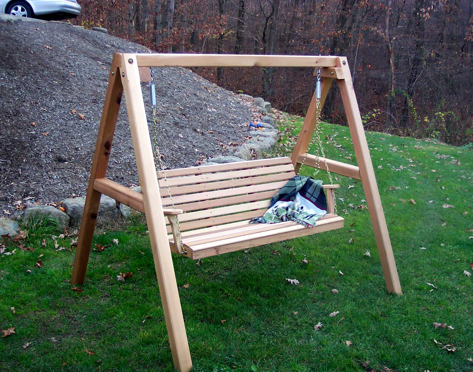 Porch Swings With Stand Inside 2019 Red Cedar American Classic Porch Swing W/stand (Gallery 18 of 25)