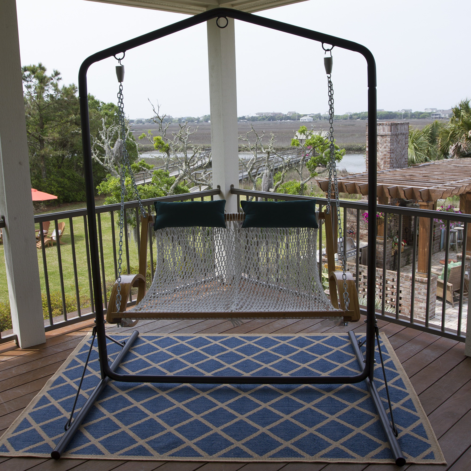 Porch Swings With Stand With Favorite Curved Arm Double Rope Swing (Gallery 22 of 25)