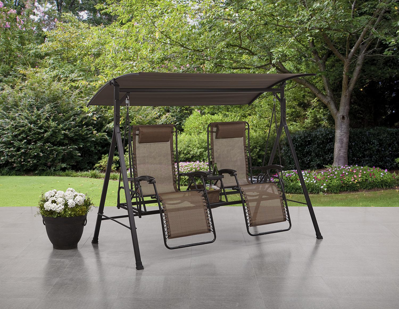 Preferred 2 Person Antique Black Iron Outdoor Swings Regarding Mainstays Big And Tall Zero Gravity Outdoor Reclining Swing, Beige – Walmart (View 9 of 25)