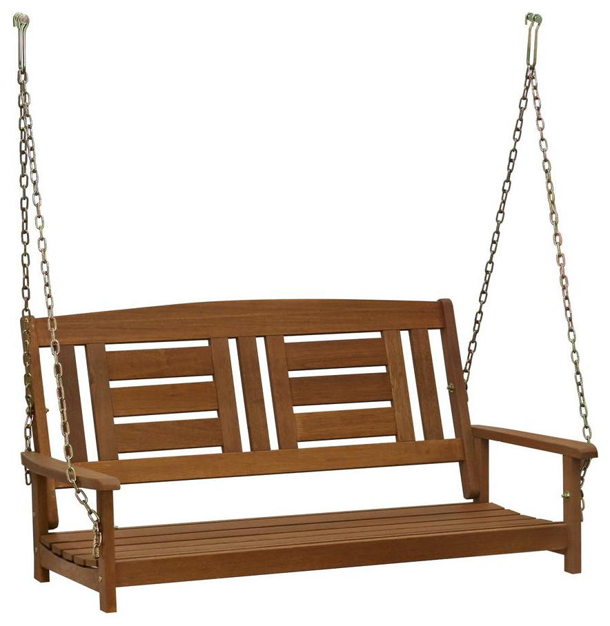 Preferred 2 Person Hammered Bronze Iron Outdoor Swings In Furinno Tioman Hardwood Hanging Porch Swing With Chain (View 18 of 25)