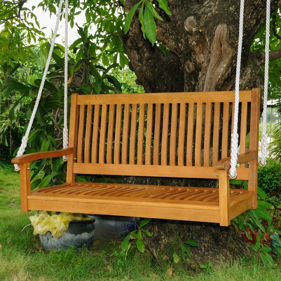 Featured Photo of 2-person Light Teak Oil Wood Outdoor Swings