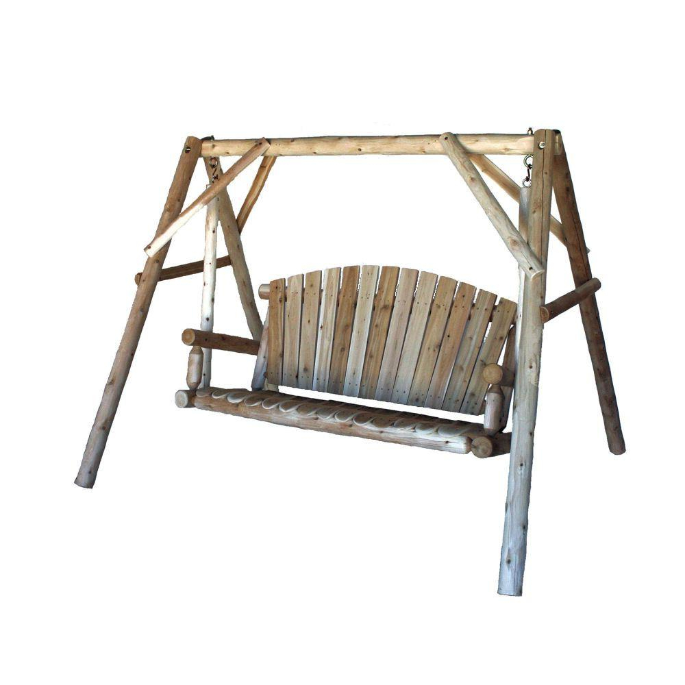 Preferred 2 Person Natural Cedar Wood Outdoor Swings Intended For Lakeland Mills 3 Person Patio Yard Swing (View 5 of 25)