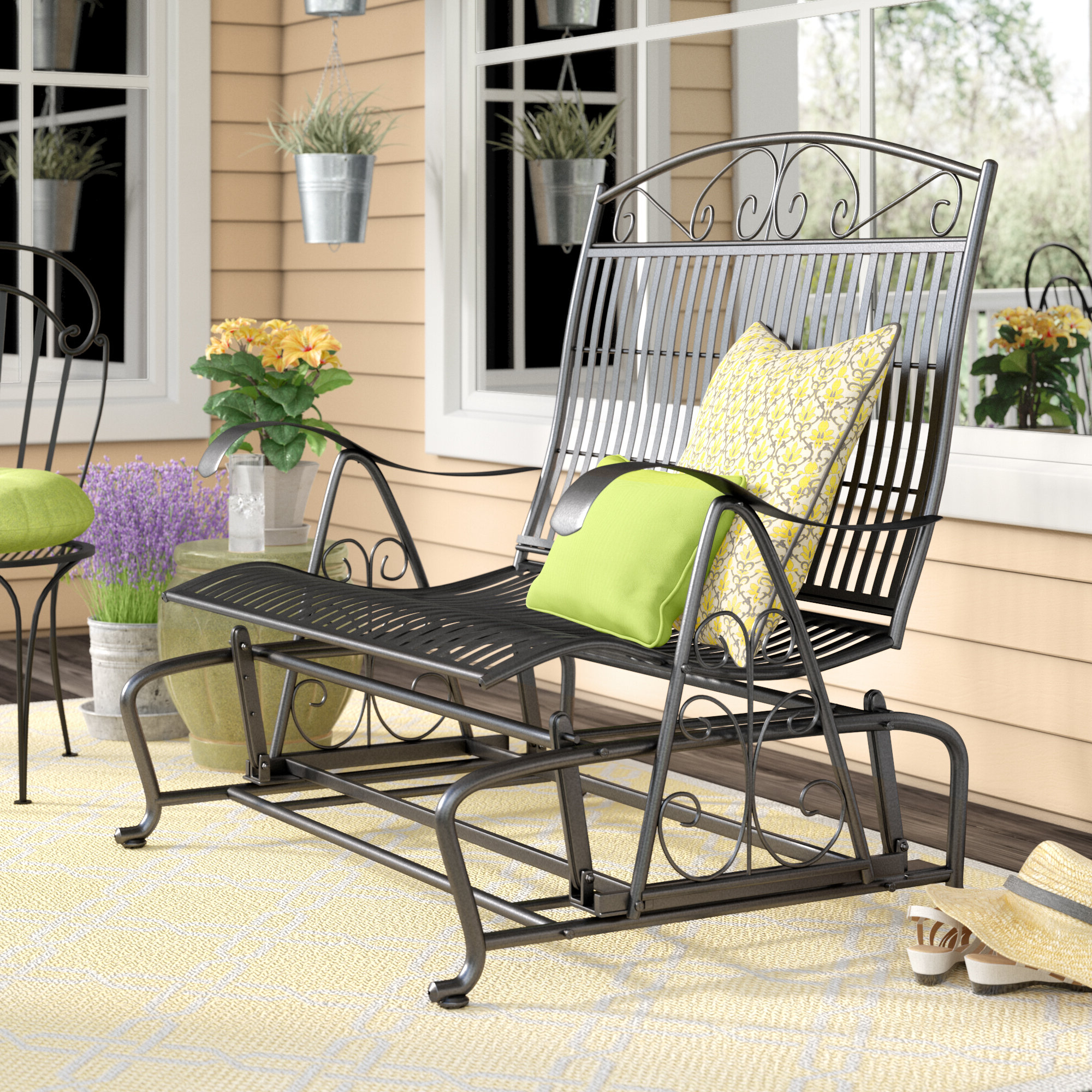 Preferred Nocona Iron Double Patio Glider Bench In 2 Person Antique Black Iron Outdoor Gliders (View 18 of 25)