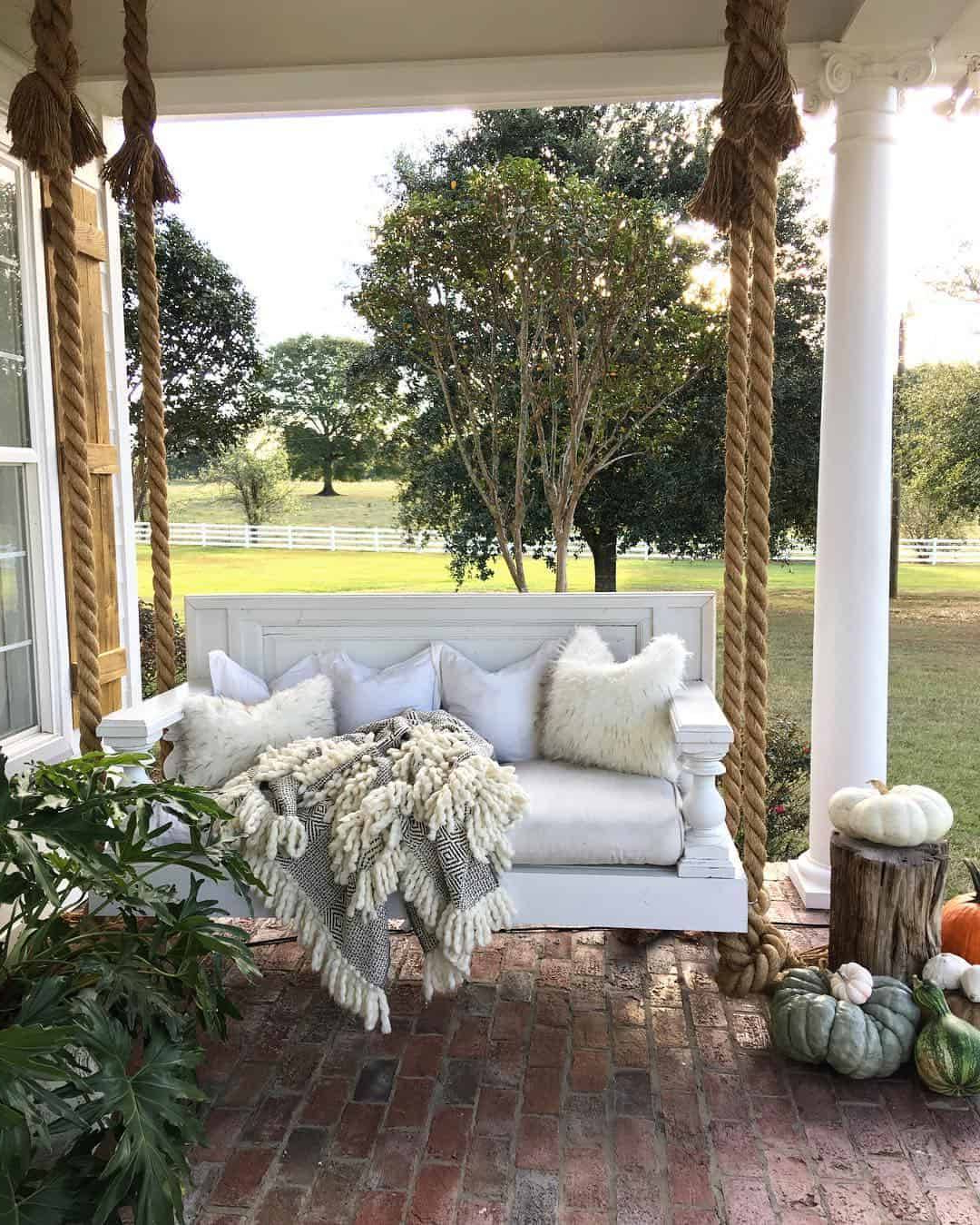 Preferred Patio Hanging Porch Swings Regarding Scenic Swinging Porch Bed Rustic Farmhouse Hanging Swing (View 9 of 25)