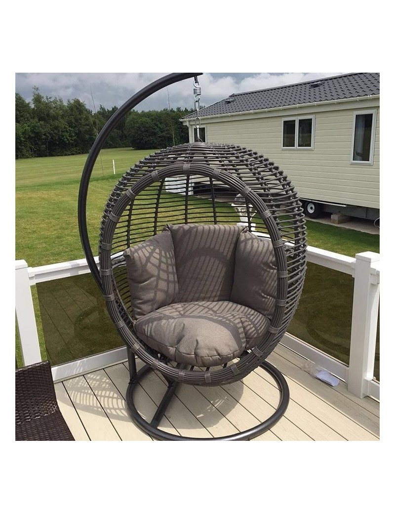 Rattan Garden Swing Chairs With Preferred Large Luxurious Grey Rattan/wicker Garden Hanging Pod Chair/swing With Comfort Cushion (Gallery 2 of 25)