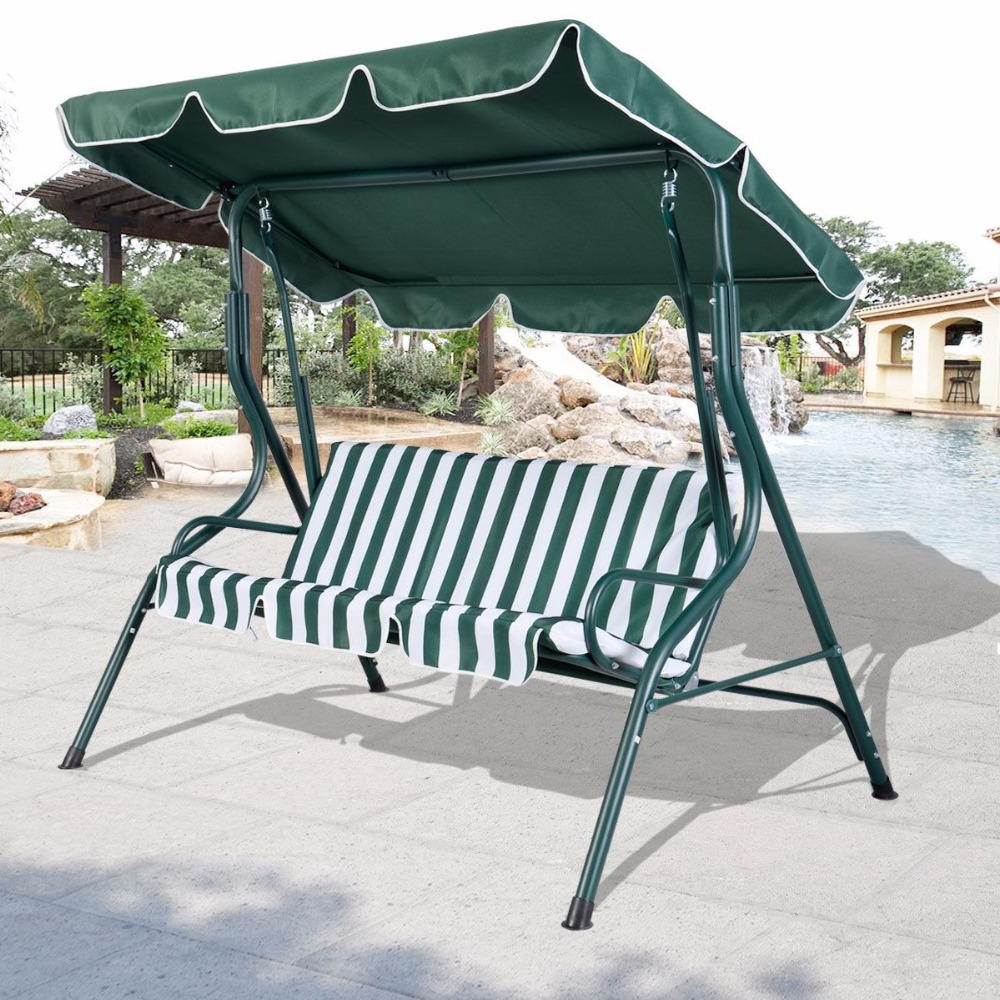 Recent 3 Person Patio Swing Outdoor Canopy Awning Yard Furniture Hammock Steel Green Op2573*fds In Garden Leisure Outdoor Hammock Patio Canopy Rocking Chairs (View 6 of 25)