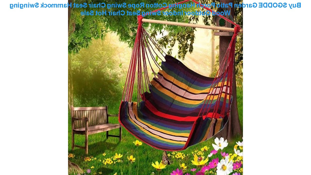 Recent Buy Sgodde Garden Patio Porch Hanging Cotton Rope Swing Chair Seat Ham Within Garden Leisure Outdoor Hammock Patio Canopy Rocking Chairs (View 21 of 25)