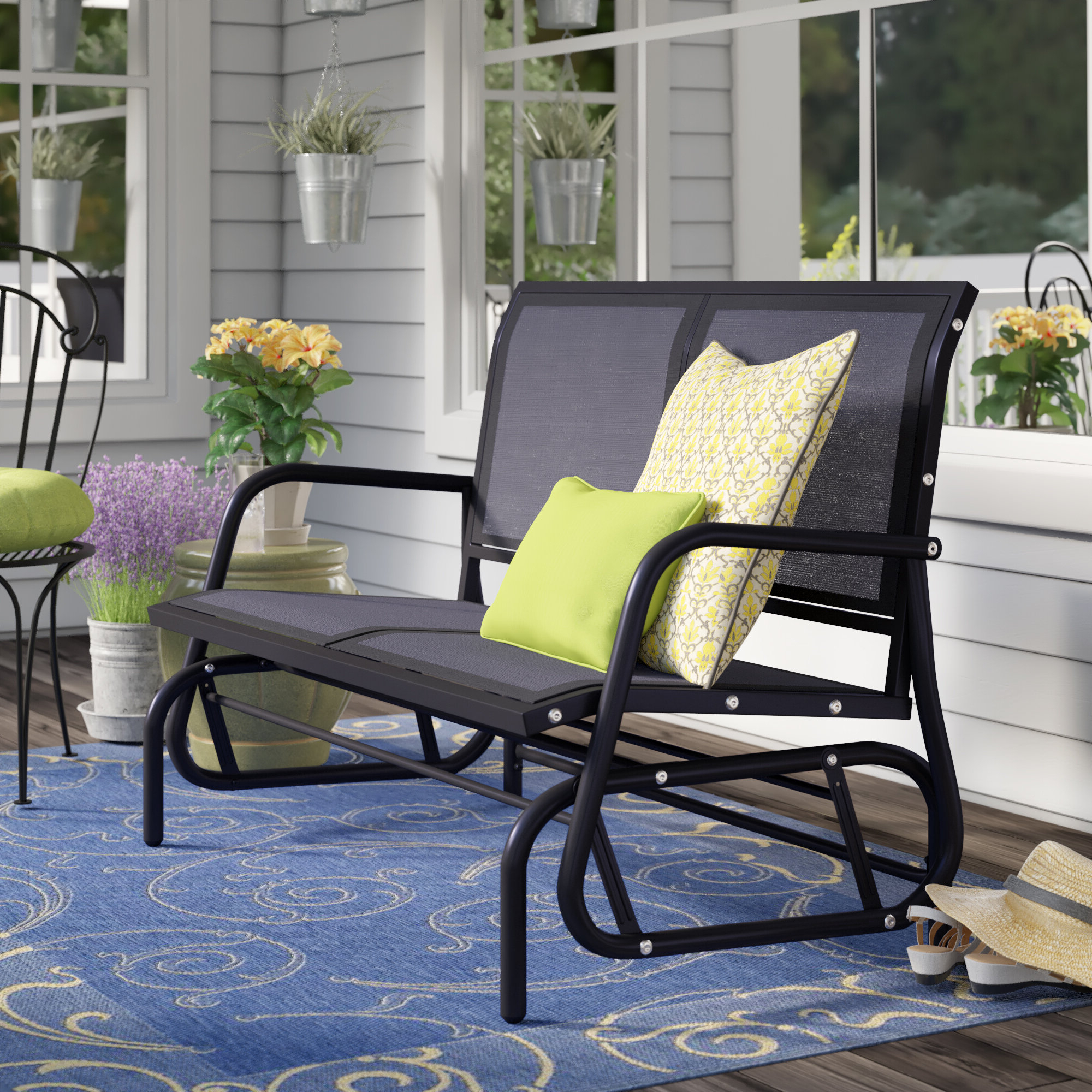 "Recent Callen 49"" Outdoor Patio Swing Glider Bench Chair – Dark Grey Intended For Outdoor Patio Swing Glider Bench Chairs (View 21 of 25)"