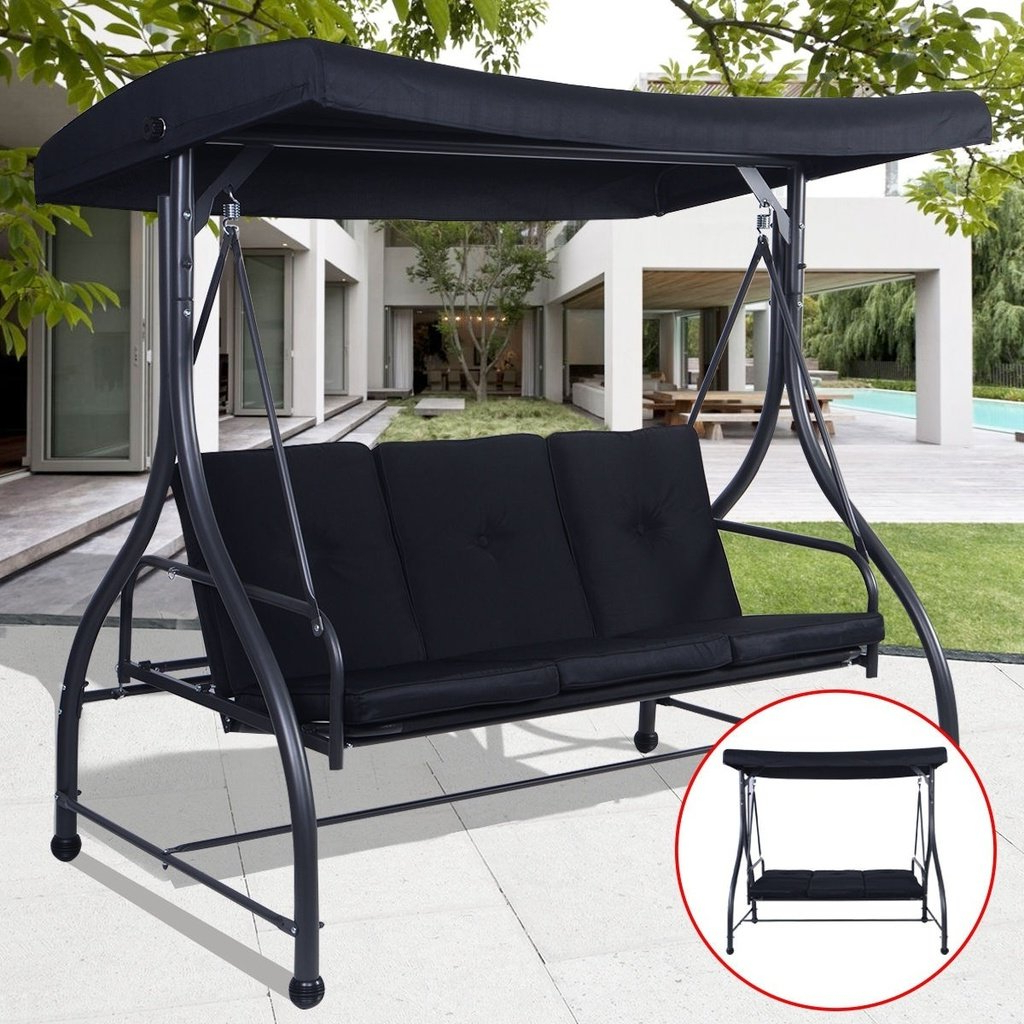 Recent Converting Outdoor Swing Canopy Hammock 3 Seats Patio Deck Within 3 Seats Patio Canopy Swing Gliders Hammock Cushioned Steel Frame (View 12 of 25)