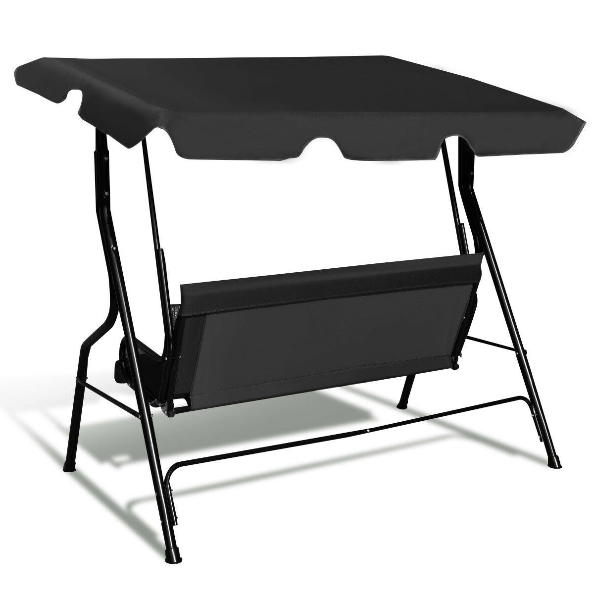 Recent Costway 3 Seats Patio Canopy Swing Glider Hammock Cushioned Steel Frame Backyar Black For 3 Seats Patio Canopy Swing Gliders Hammock Cushioned Steel Frame (View 9 of 25)