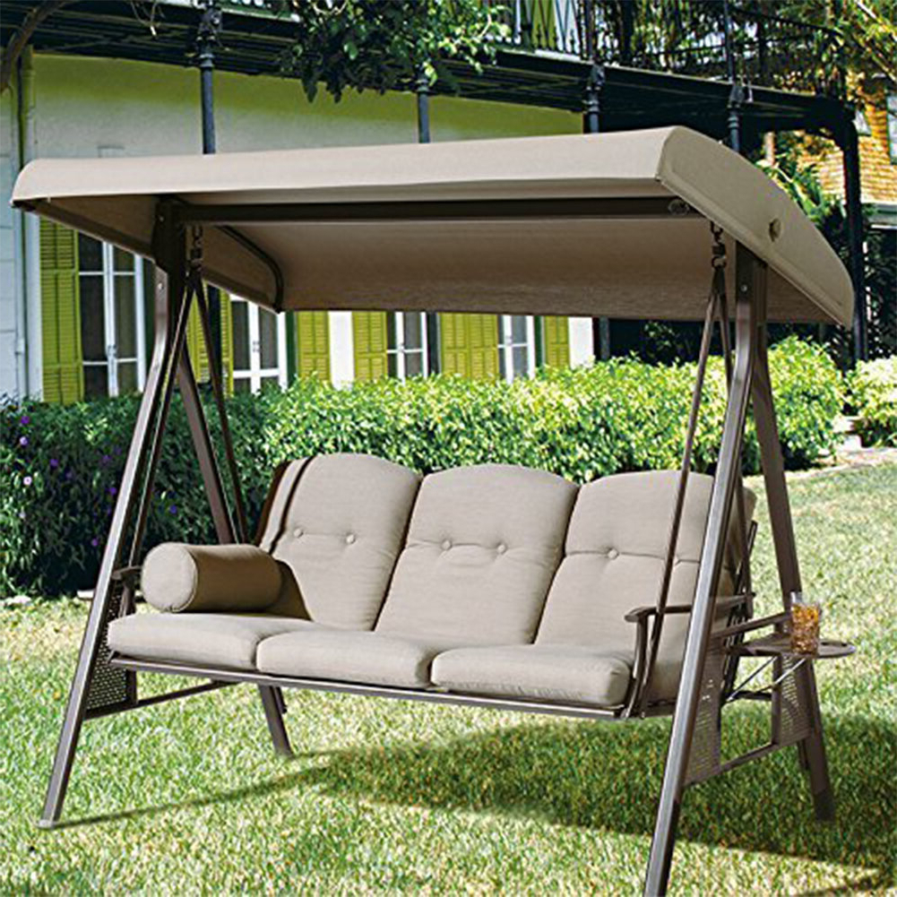Rohrbaugh 3 Seat Outdoor Porch Swing With Stand For Well Known Canopy Patio Porch Swings With Pillows And Cup Holders (View 24 of 25)