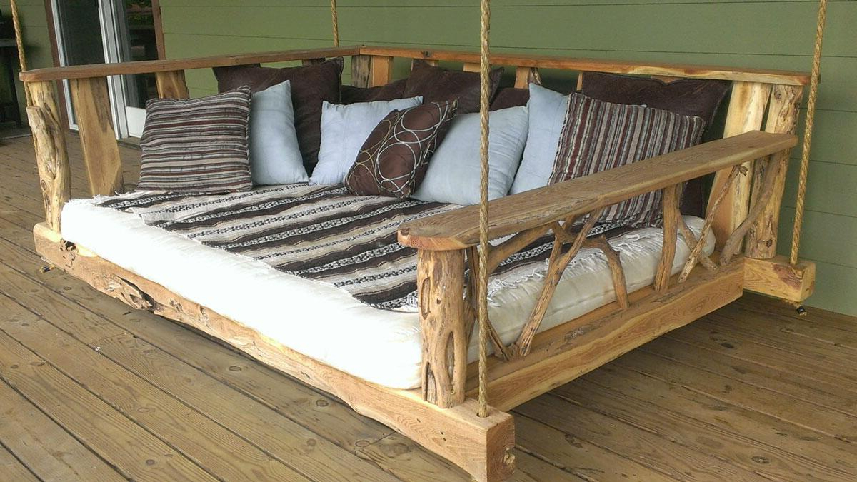Rustic Porch Swing Bed In Fashionable Porch Swings (Gallery 4 of 26)