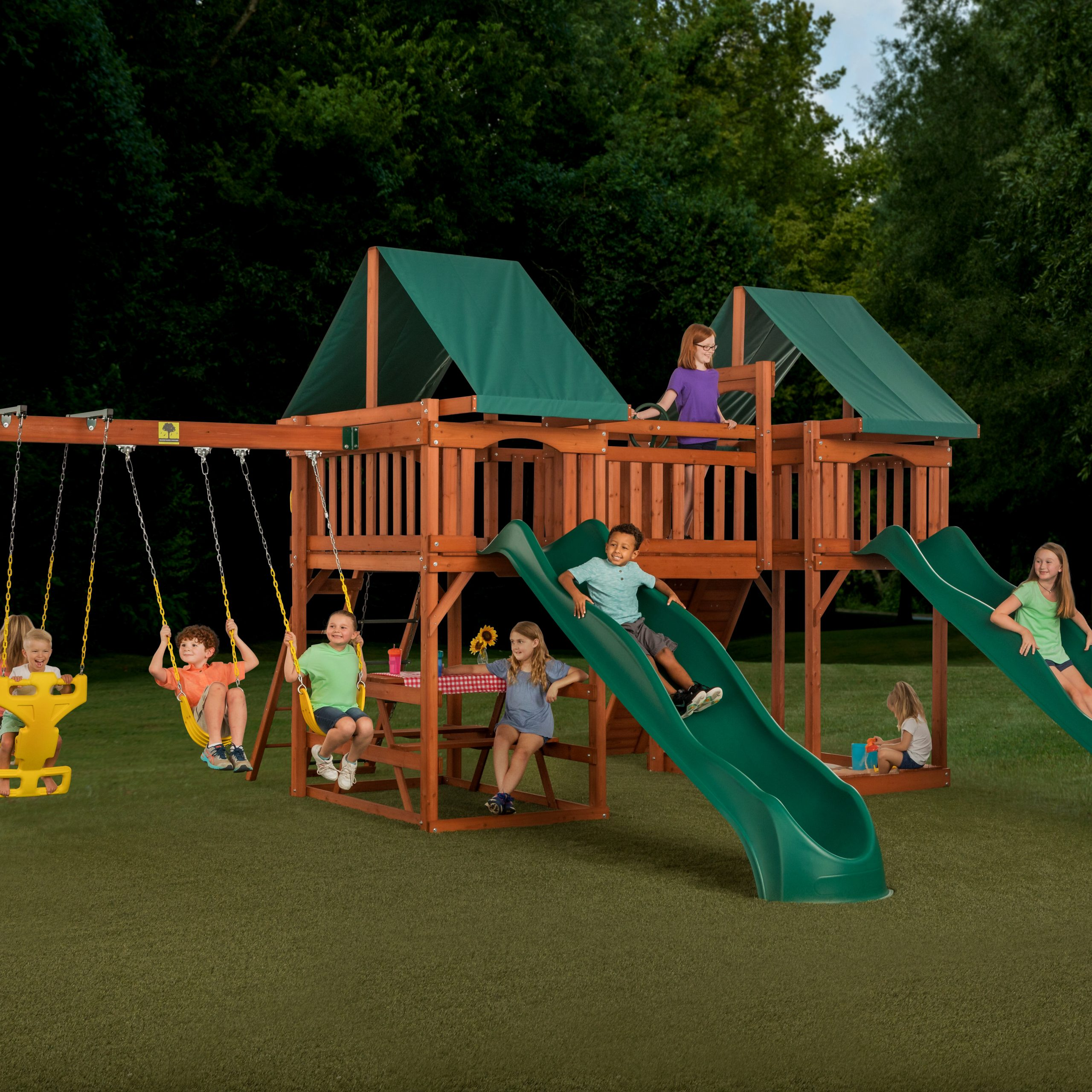 Sequoia Swing Set Throughout Most Current Dual Rider Glider Swings With Soft Touch Rope (View 18 of 25)