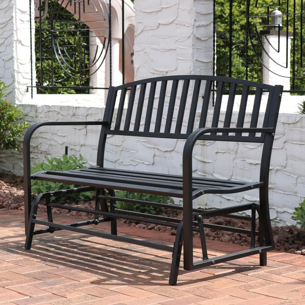 Steel Patio Swing Glider Benches Regarding Well Liked Sunnydaze Decor 2 Person Black Steel Outdoor Glider Bench In (View 9 of 25)