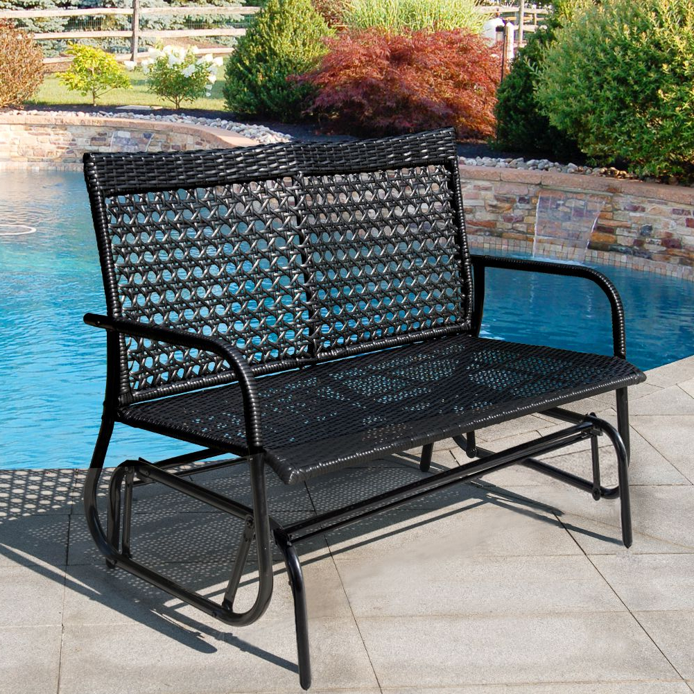 Sundale Outdoor 2 Person Wicker Loveseat Glider Bench Chair With Favorite 2 Person Loveseat Chair Patio Porch Swings With Rocker (View 8 of 25)