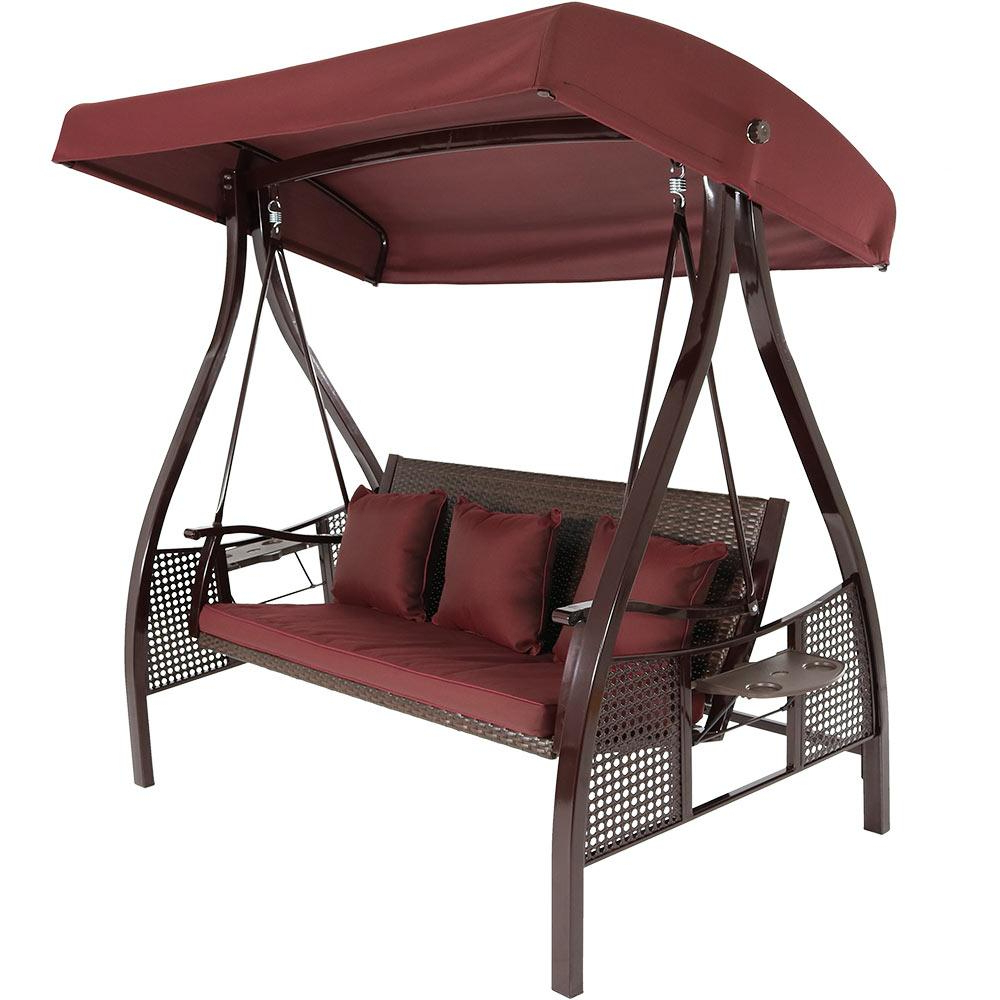 Sunnydaze Decor Deluxe Steel Frame Porch Swing With Maroon Cushion, Canopy And Side Tables Regarding Current Canopy Patio Porch Swings With Pillows And Cup Holders (View 10 of 25)