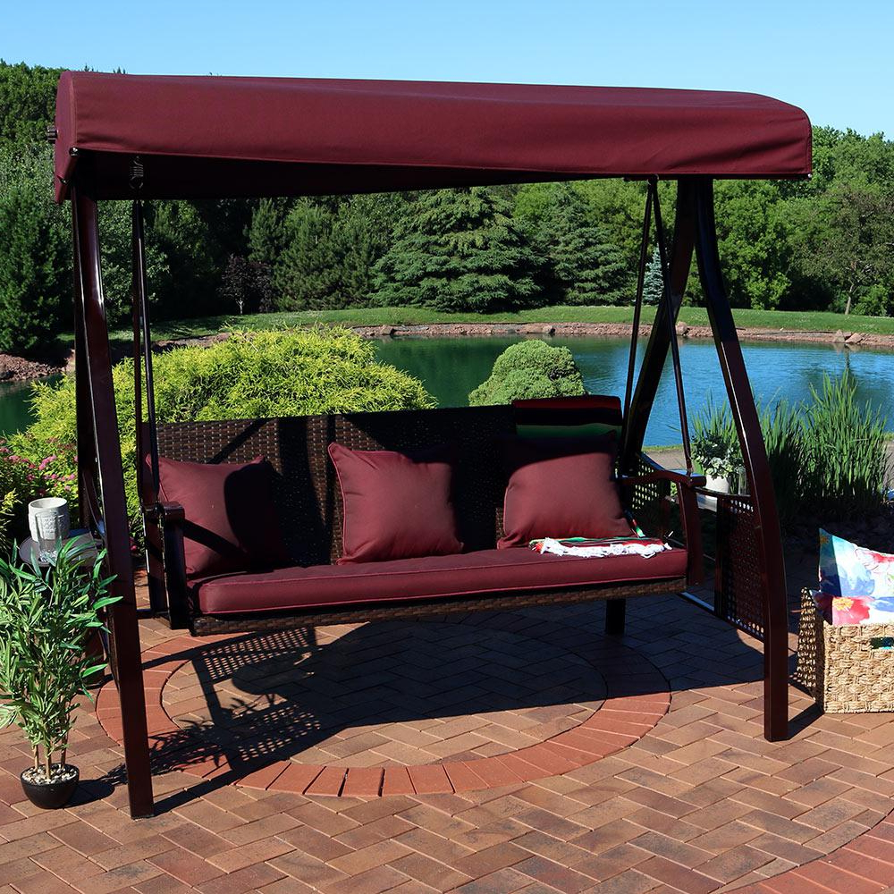 Sunnydaze Decor Deluxe Steel Frame Porch Swing With Maroon Cushion, Canopy And Side Tables With Most Up To Date Canopy Patio Porch Swing With Stand (View 8 of 25)