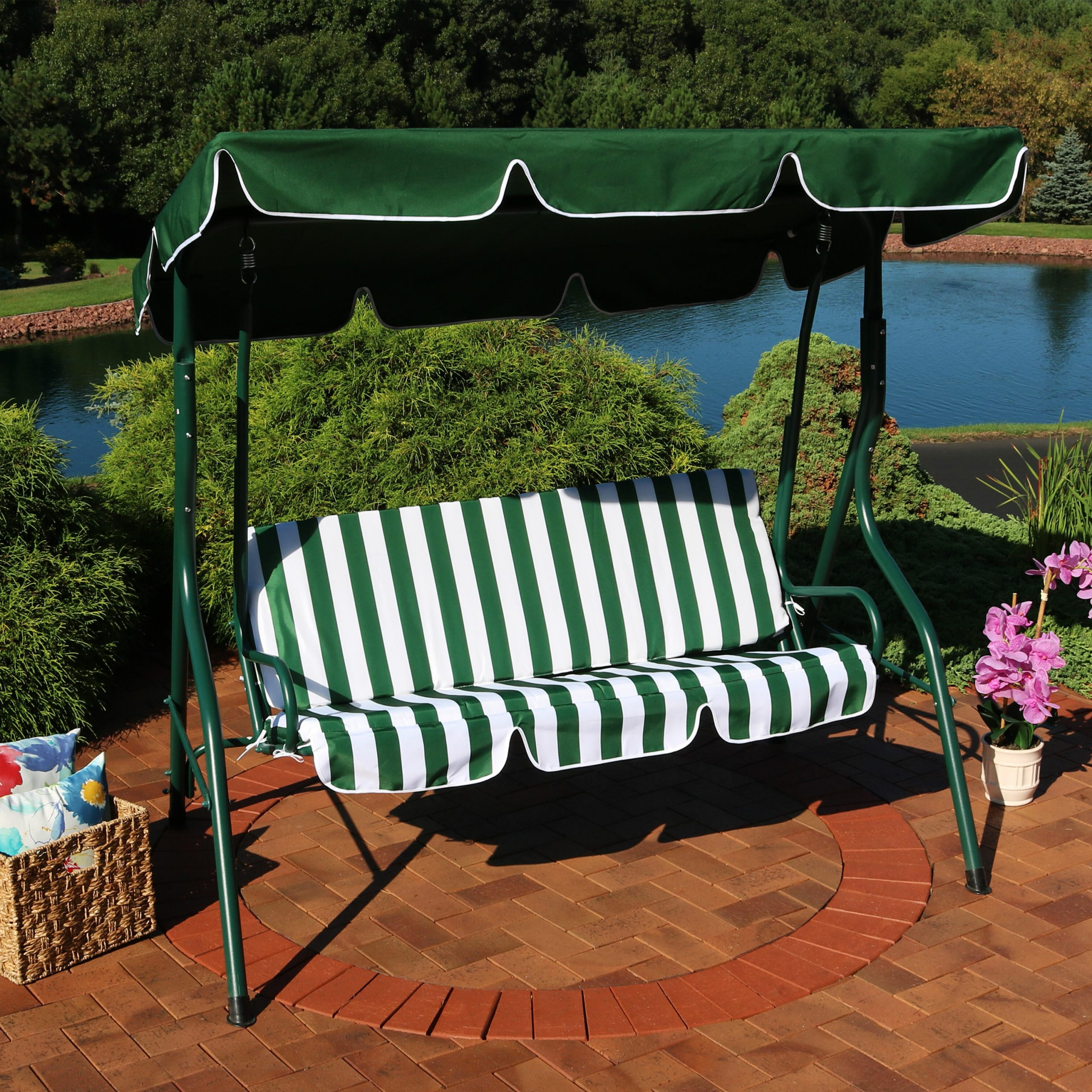 Sunseri 3 Person Striped Seat Outdoor Canopy Patio Porch Swing With Stand Regarding Favorite 3 Person Outdoor Porch Swings With Stand (View 15 of 25)