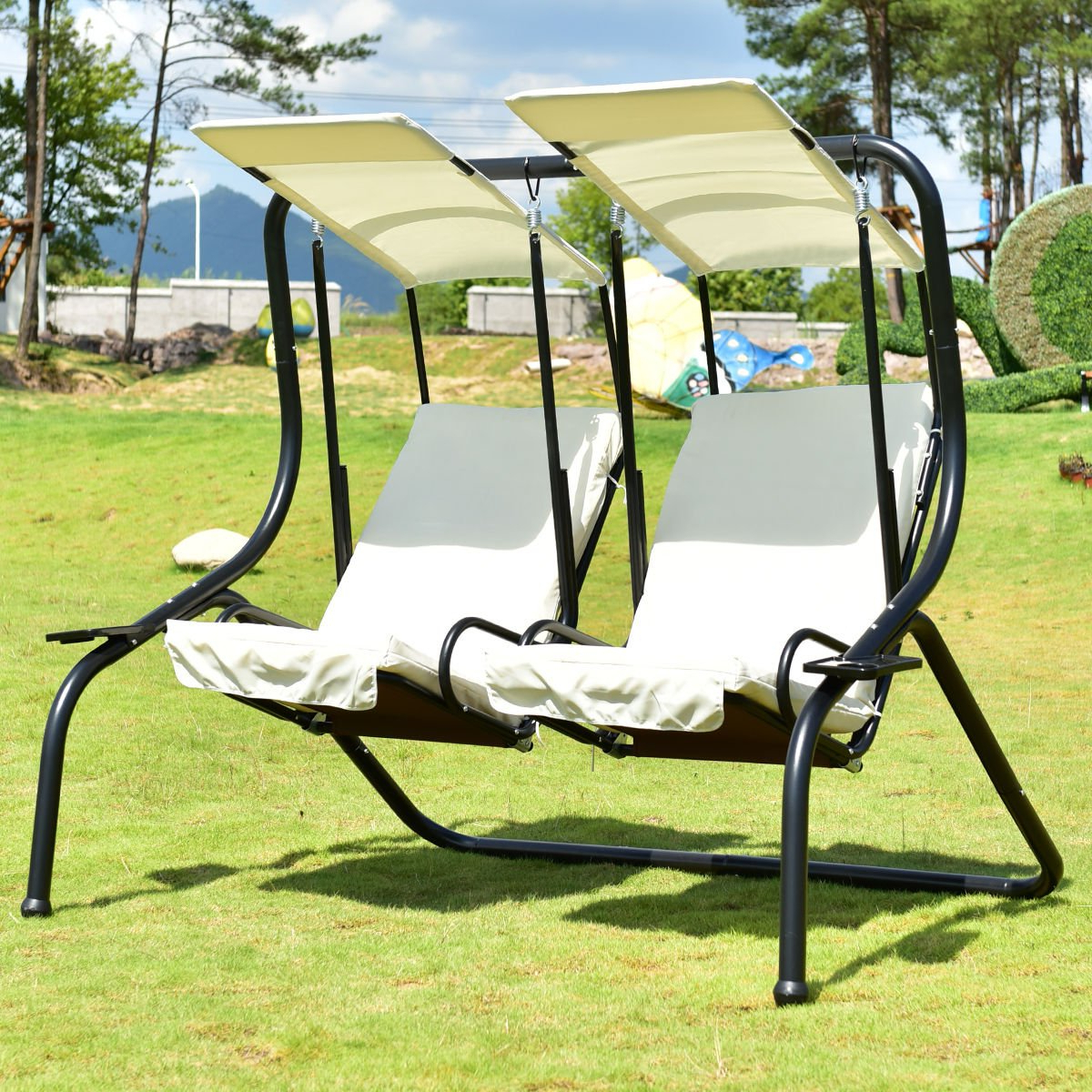 Tangkula 3 Person Patio Swing Glider Outdoor Swing Hammock With Well Known 3 Person Red With Brown Powder Coated Frame Steel Outdoor Swings (View 15 of 25)