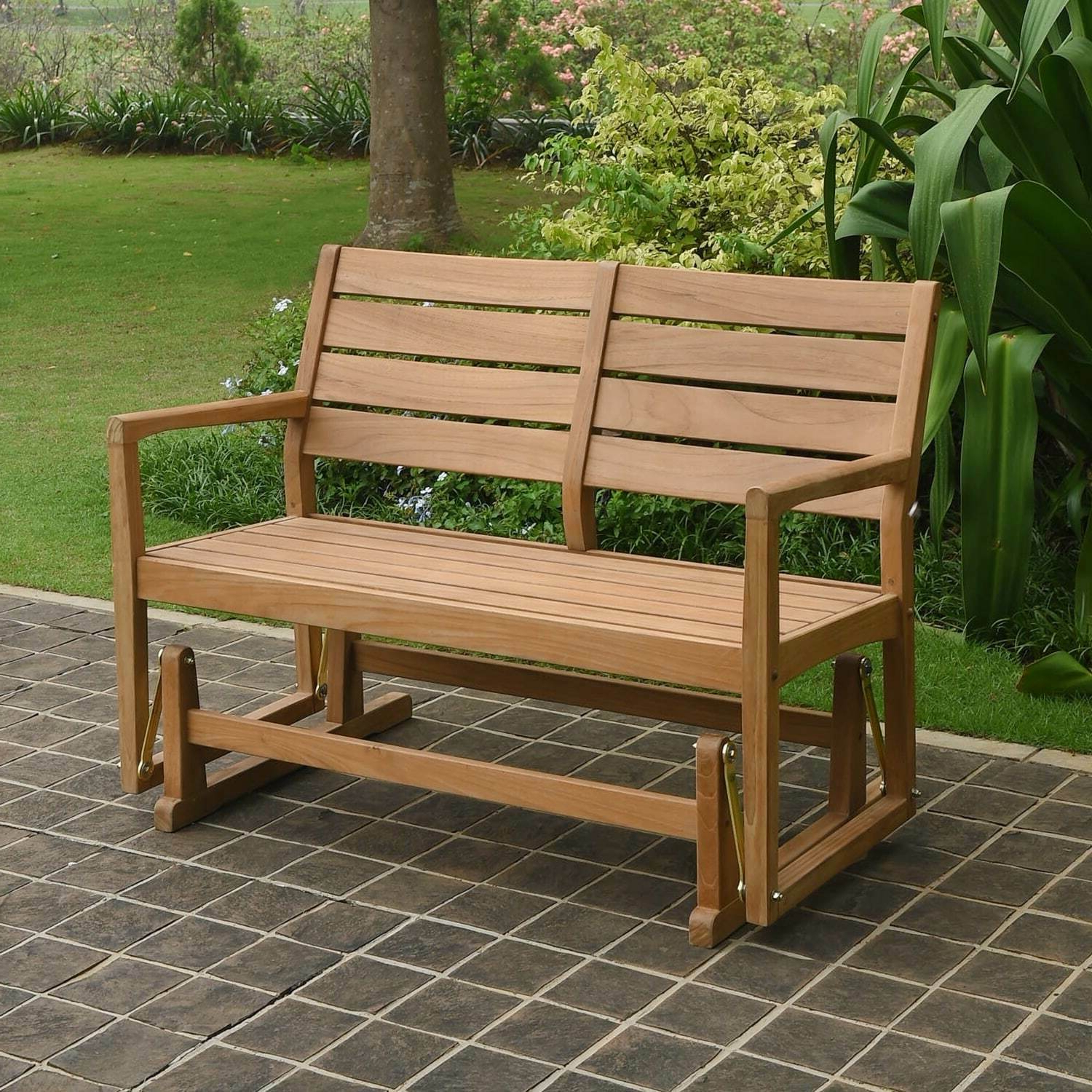 Teak Outdoor Glider Benches Pertaining To Well Known Cambridge Casual Andrea Teak Glider Bench Tan Single (View 9 of 25)