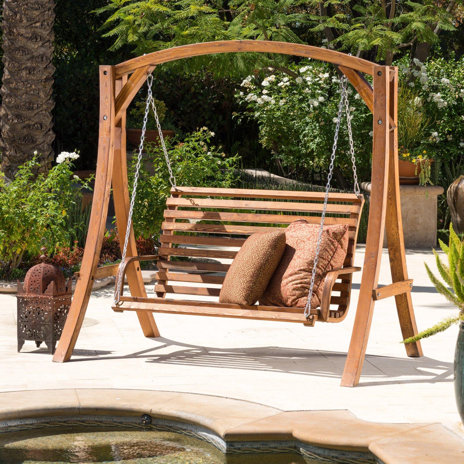Teak Porch Swings For Trendy Weyburn Wood Porch Swing – Walmart (View 20 of 25)