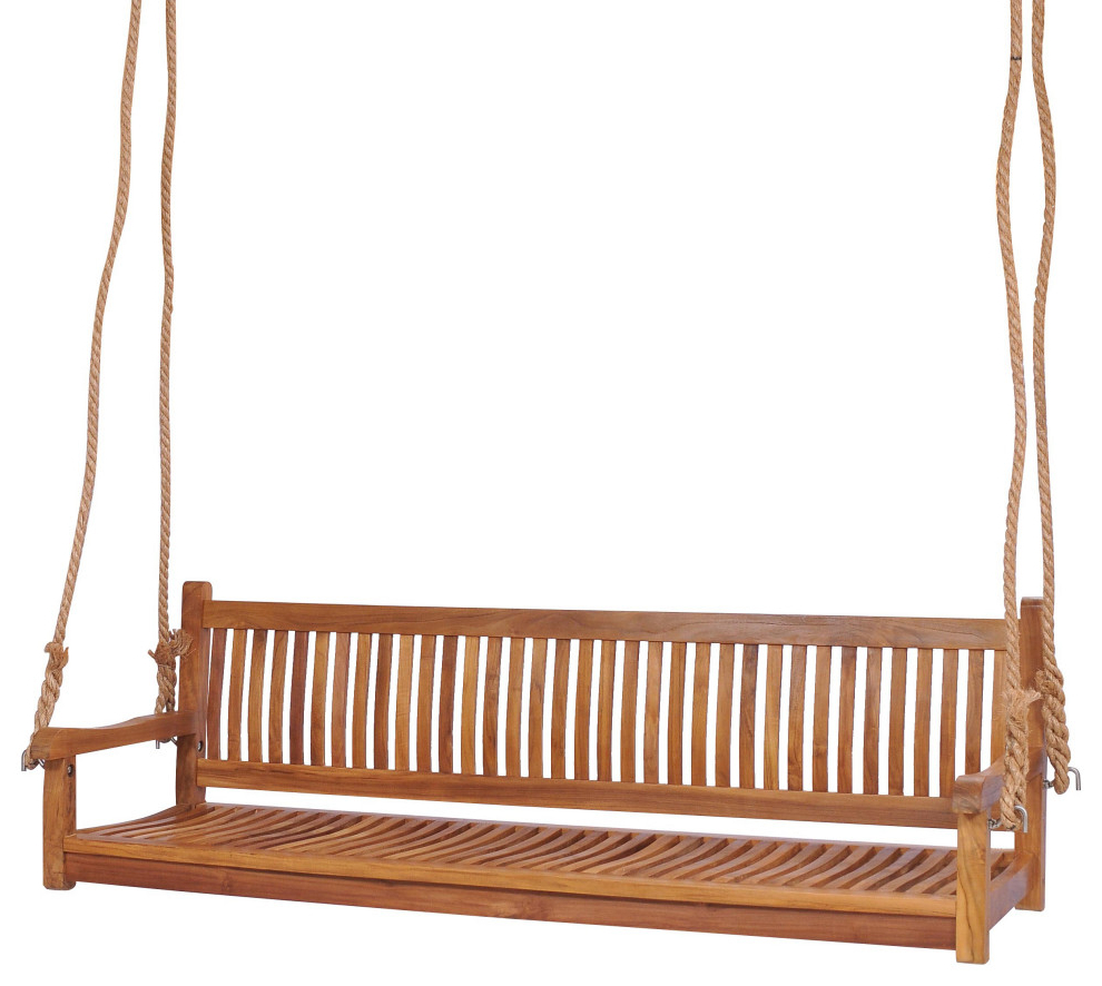 Teak Wood Elzas Triple Porch Swing Made From A Grade Teak Wood Within Best And Newest Teak Porch Swings (View 17 of 25)