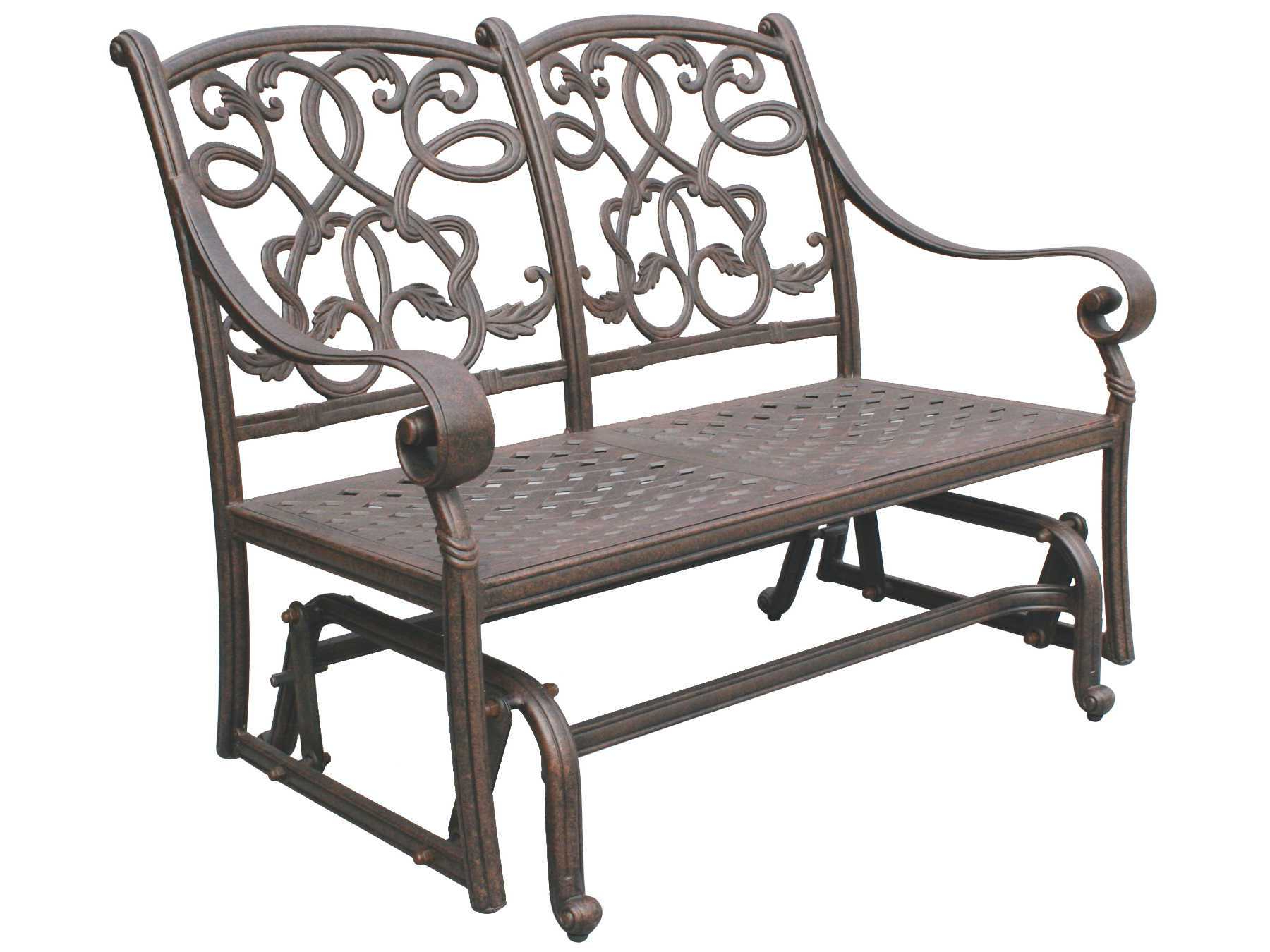 Trendy 2 Person Antique Black Iron Outdoor Gliders Within Darlee Outdoor Living Standard Santa Monica Cast Aluminum (View 6 of 25)