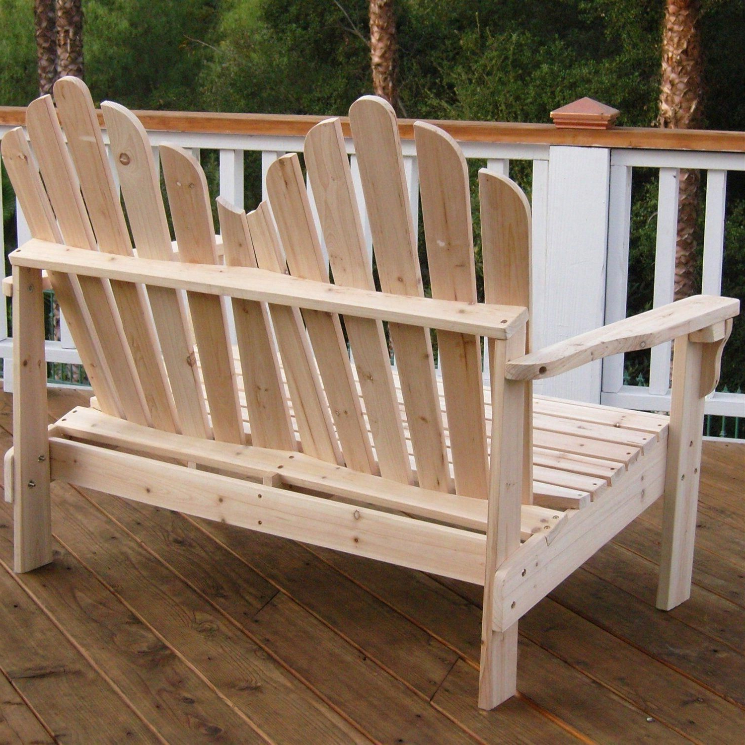 Trendy 2 Person Natural Cedar Wood Outdoor Gliders For This 2 Seat Adirondack Style Outdoor Cedar Wood Garden Bench (View 7 of 25)
